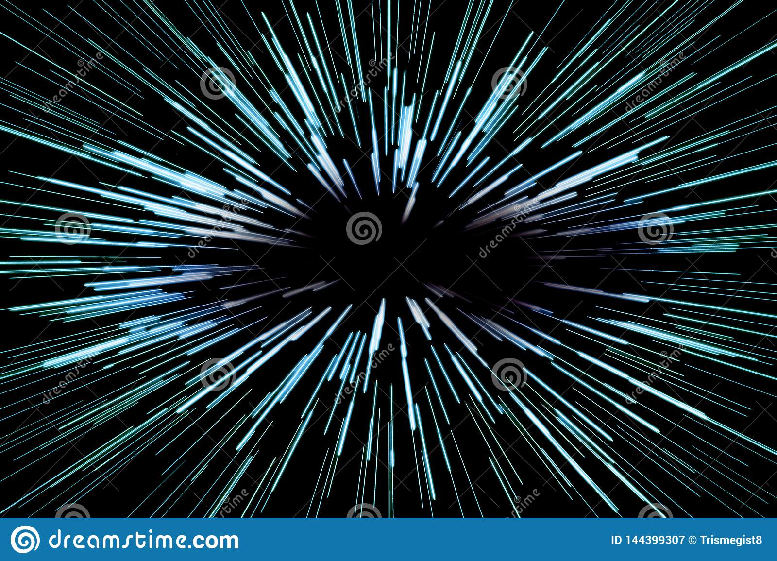 Super speed abstract background with blue lines on black background, fast forward, concept.