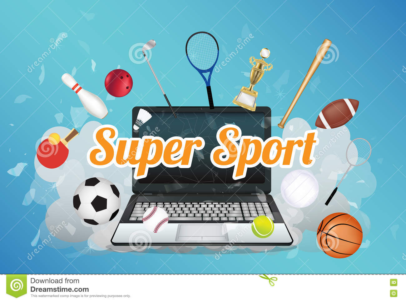 d6daf237c52 Super Sport With Sport Equipment Floating On Exploded Laptop Stock ...