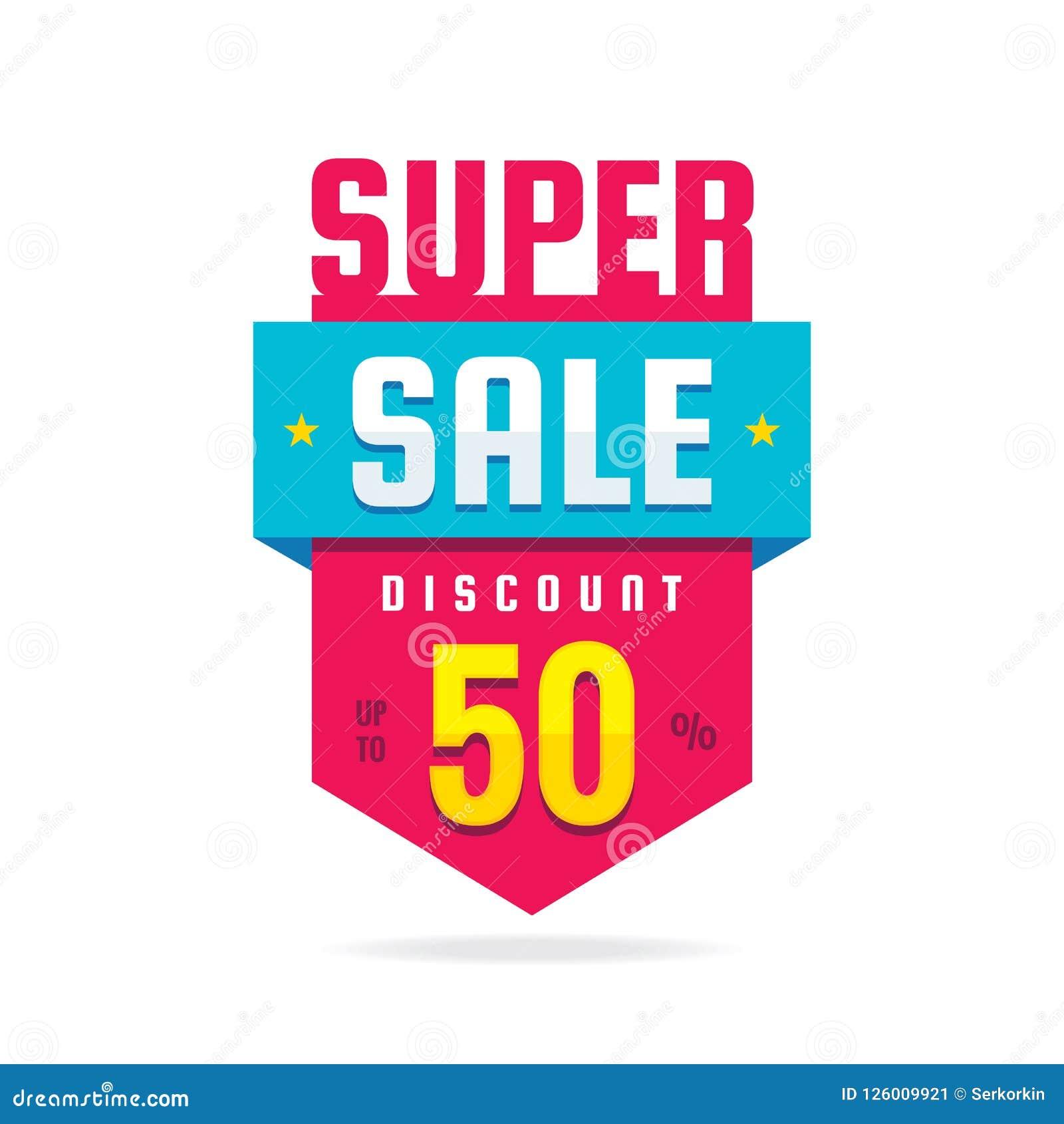 Super sprzedaż rabat do 50  - pojęcie sztandaru wektoru ilustracja Specjalnej oferty abstrakcjonistyczna pionowo odznaka Promocyj