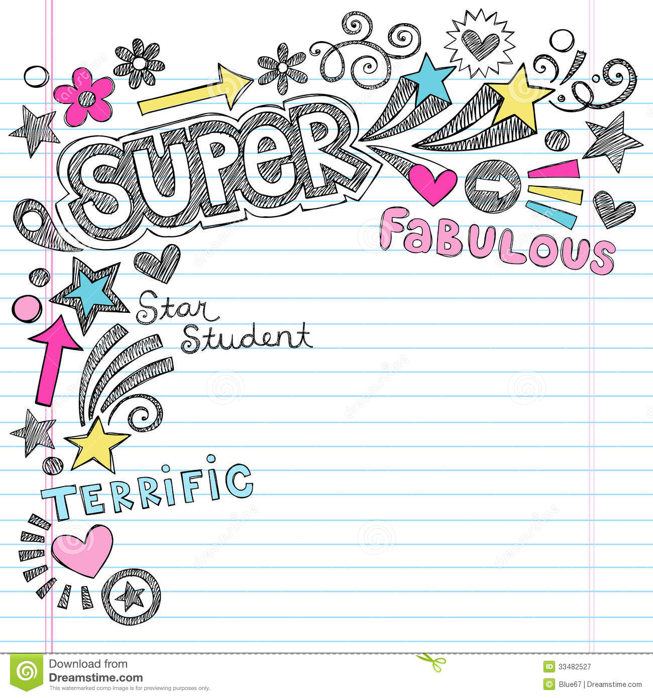 Wallpaper Lined Paper: Super Student Praise Back To School Notebook Doodl Stock