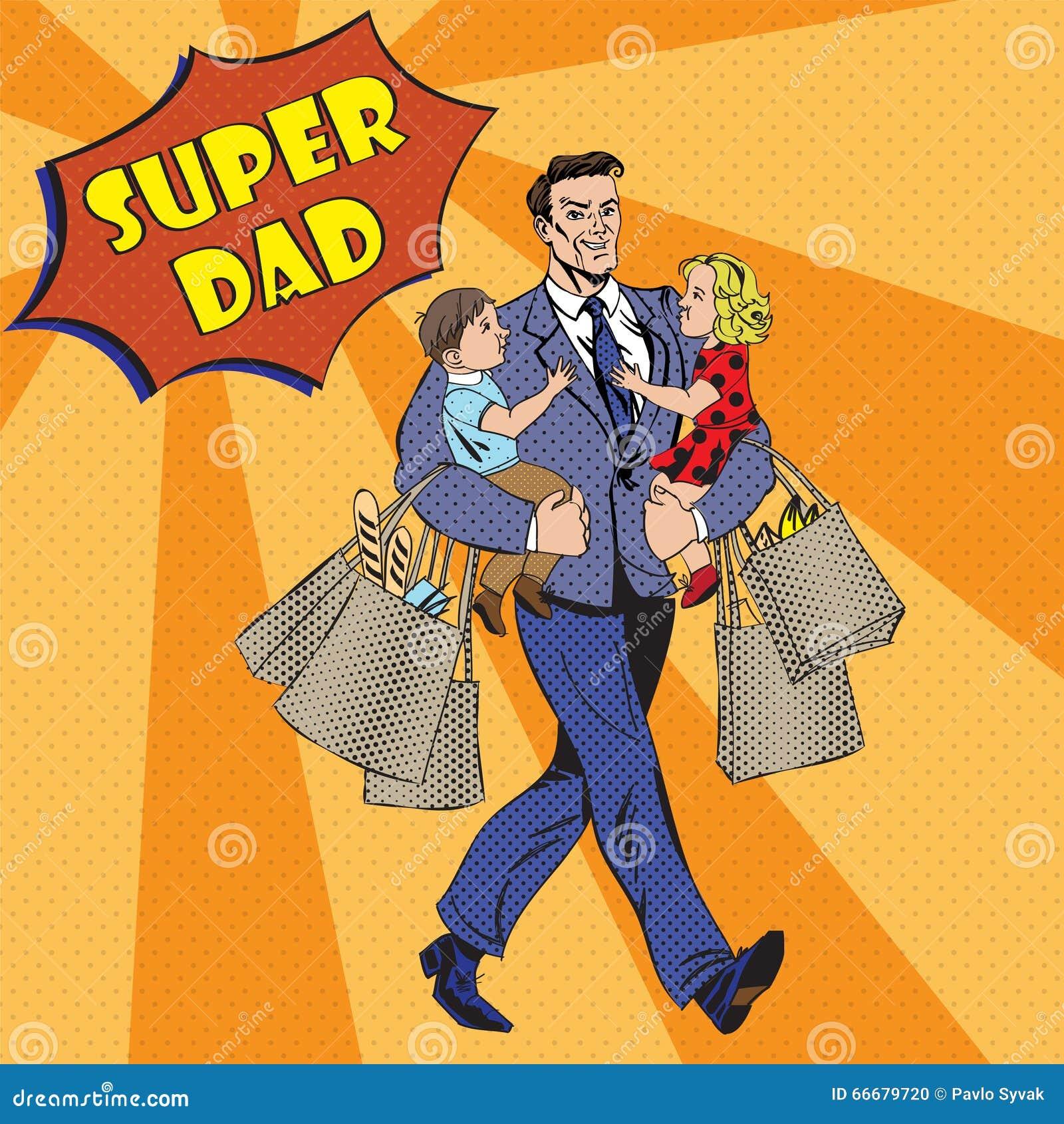 Super tata z dzieciakami na jego torba na zakupy i rękach