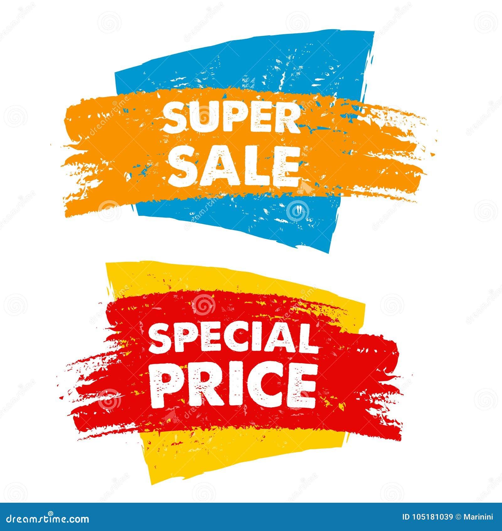 Super verkoop en speciale prijs in getrokken banner