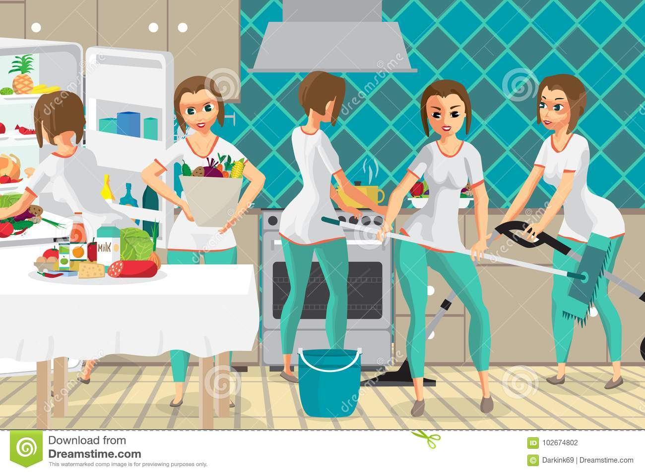 Super Woman Housewife Wife Who Does Several Things At The Same T ...