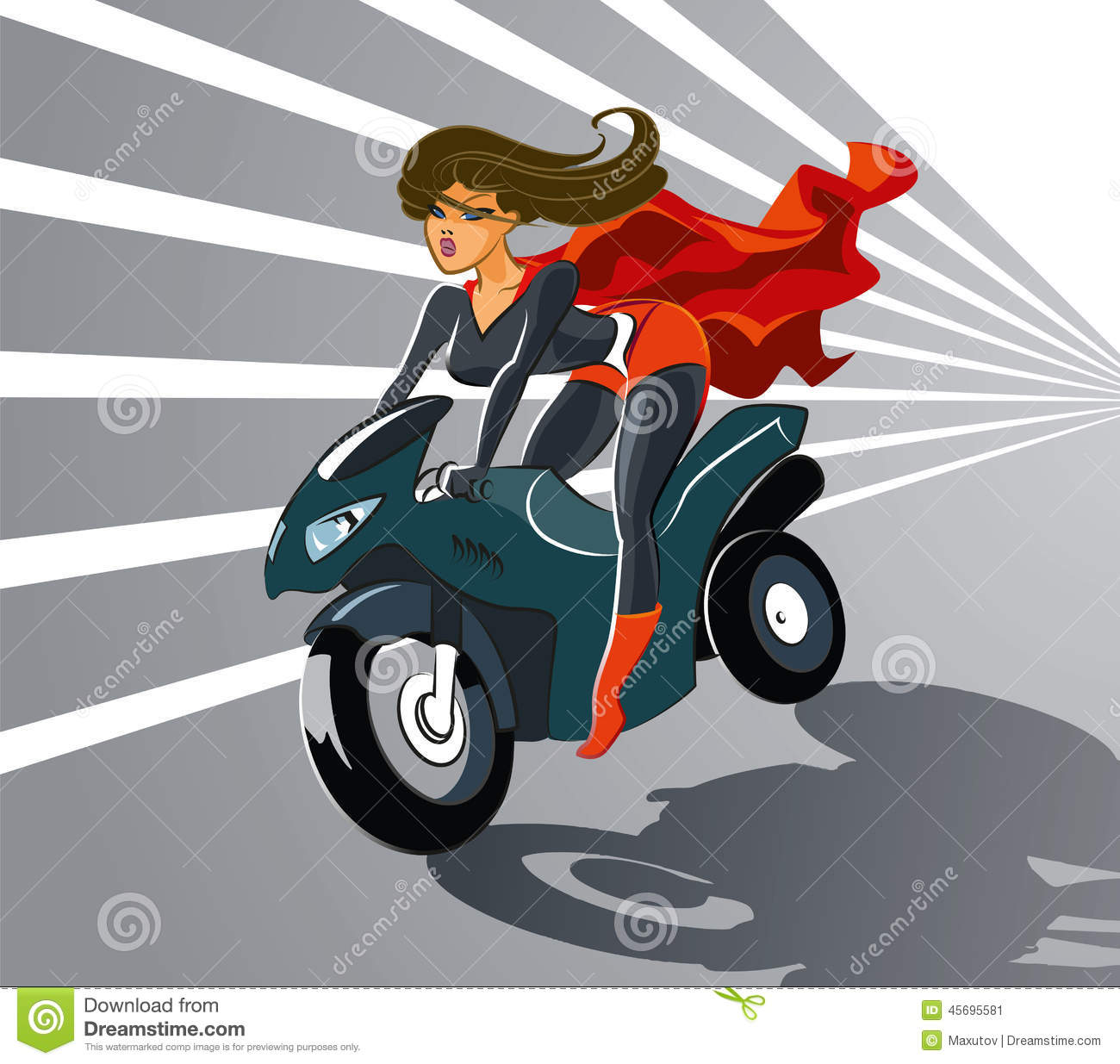 Super Woman On Motorcycle Stock Image