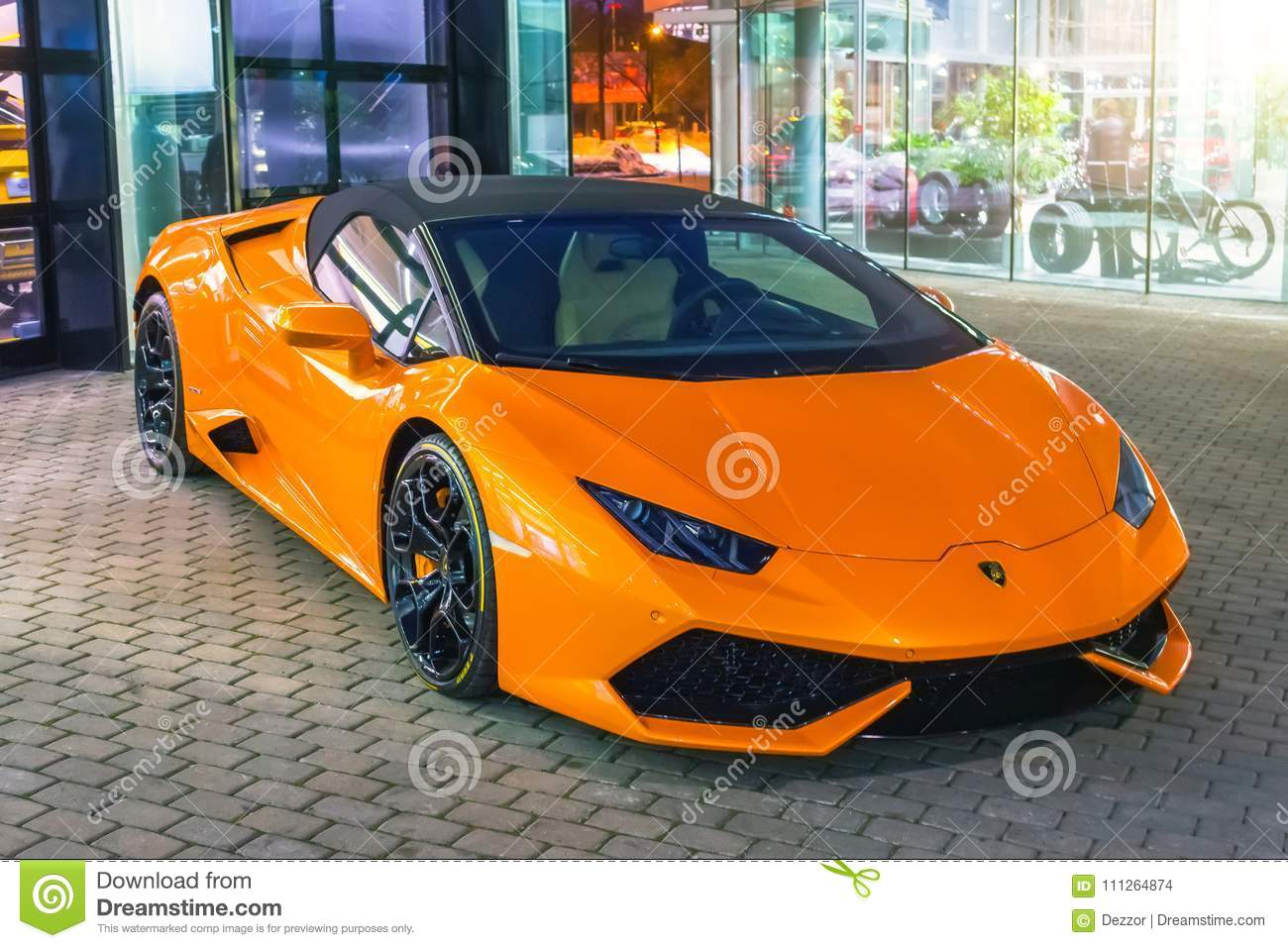 Supercar Lamborghini Aventador Orange Color Parked At The Car