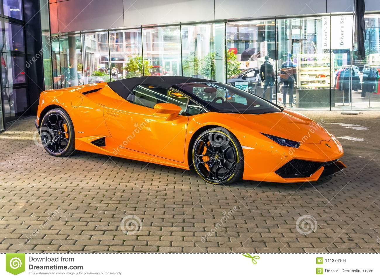 Lamborghini Aventador Orange >> Supercar Lamborghini Aventador Orange Color Parked At The