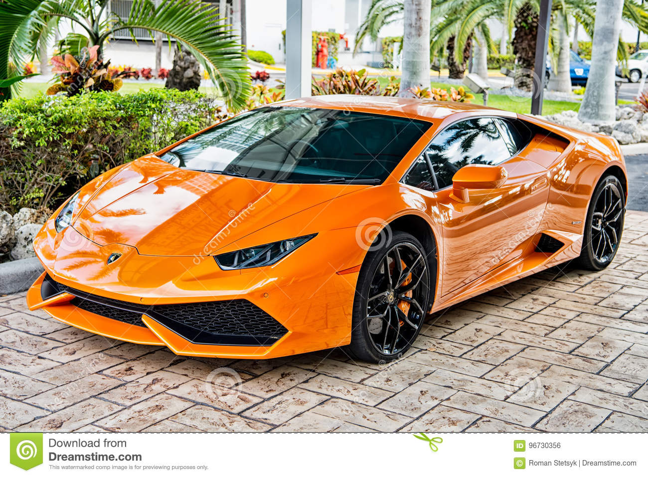 Supercar Lamborghini Aventador Orange Editorial Photo Image Of