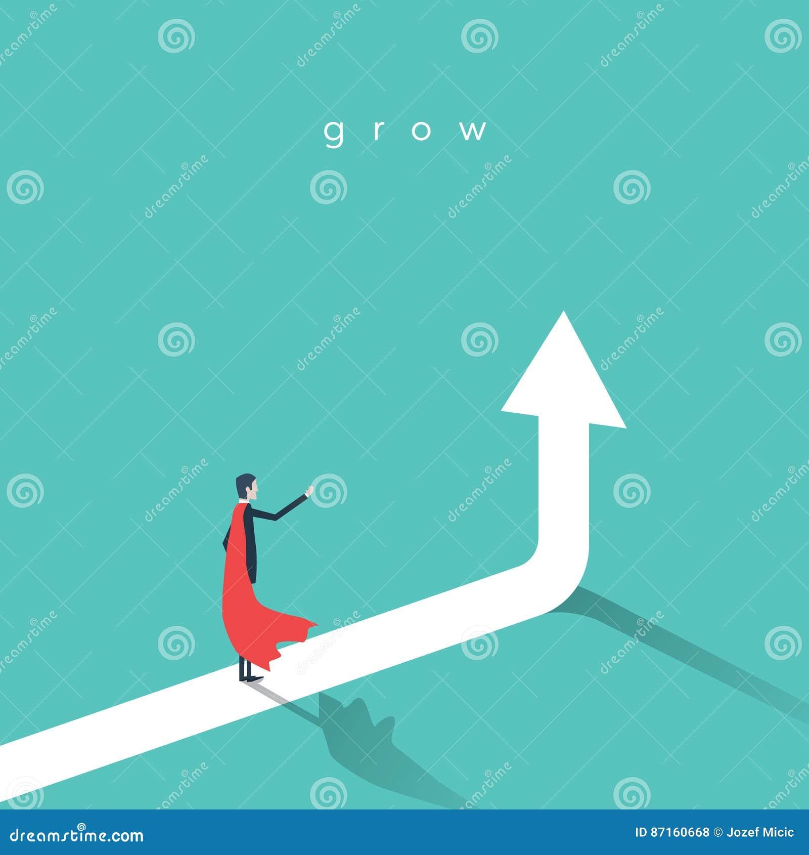 Supereroe di affari con la freccia in aumento come simbolo di potere e di successo
