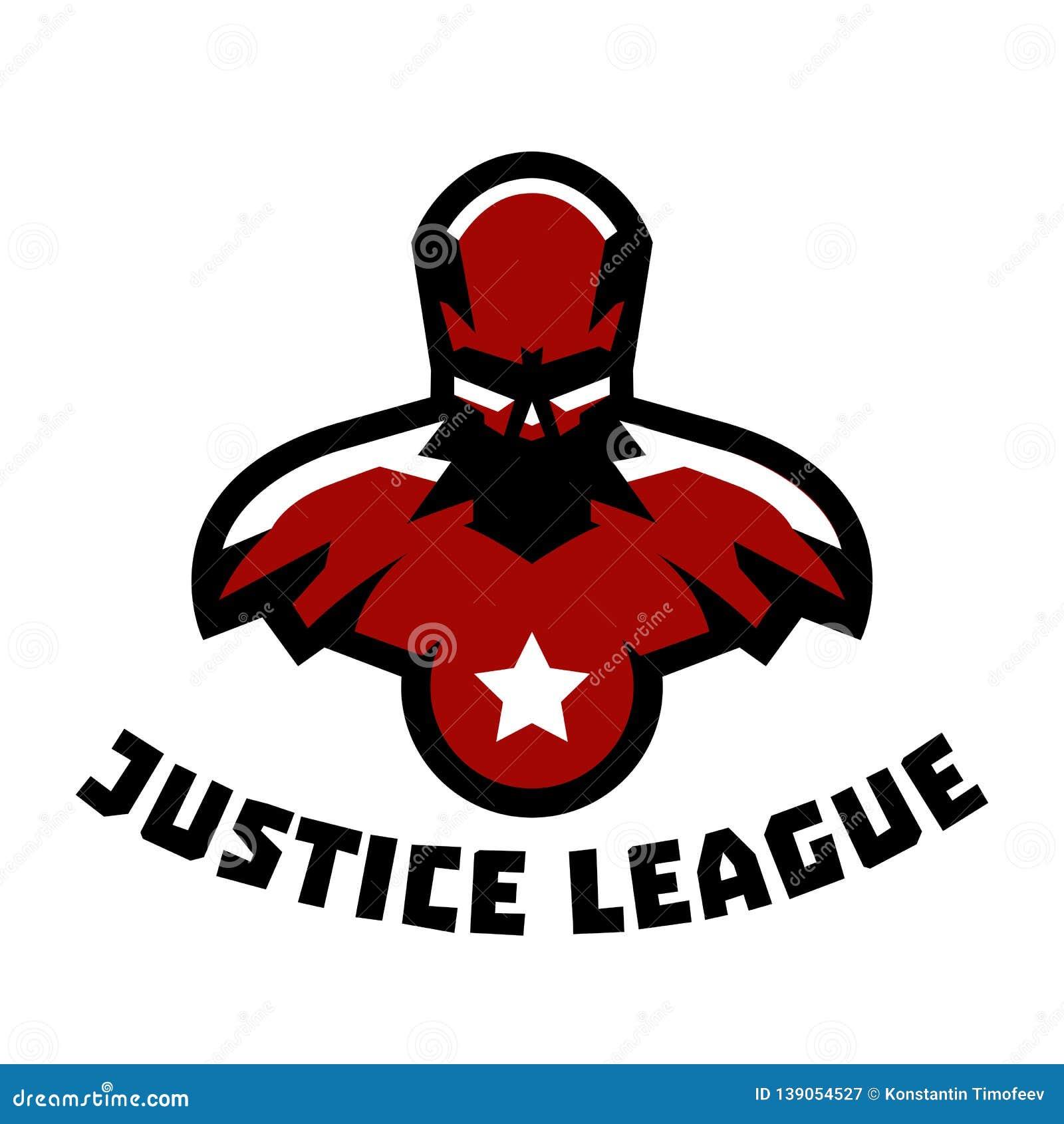 Supereroe di logo Costume del superman Lega di giustizia Ente muscolare Illustrazione di vettore Stile piano