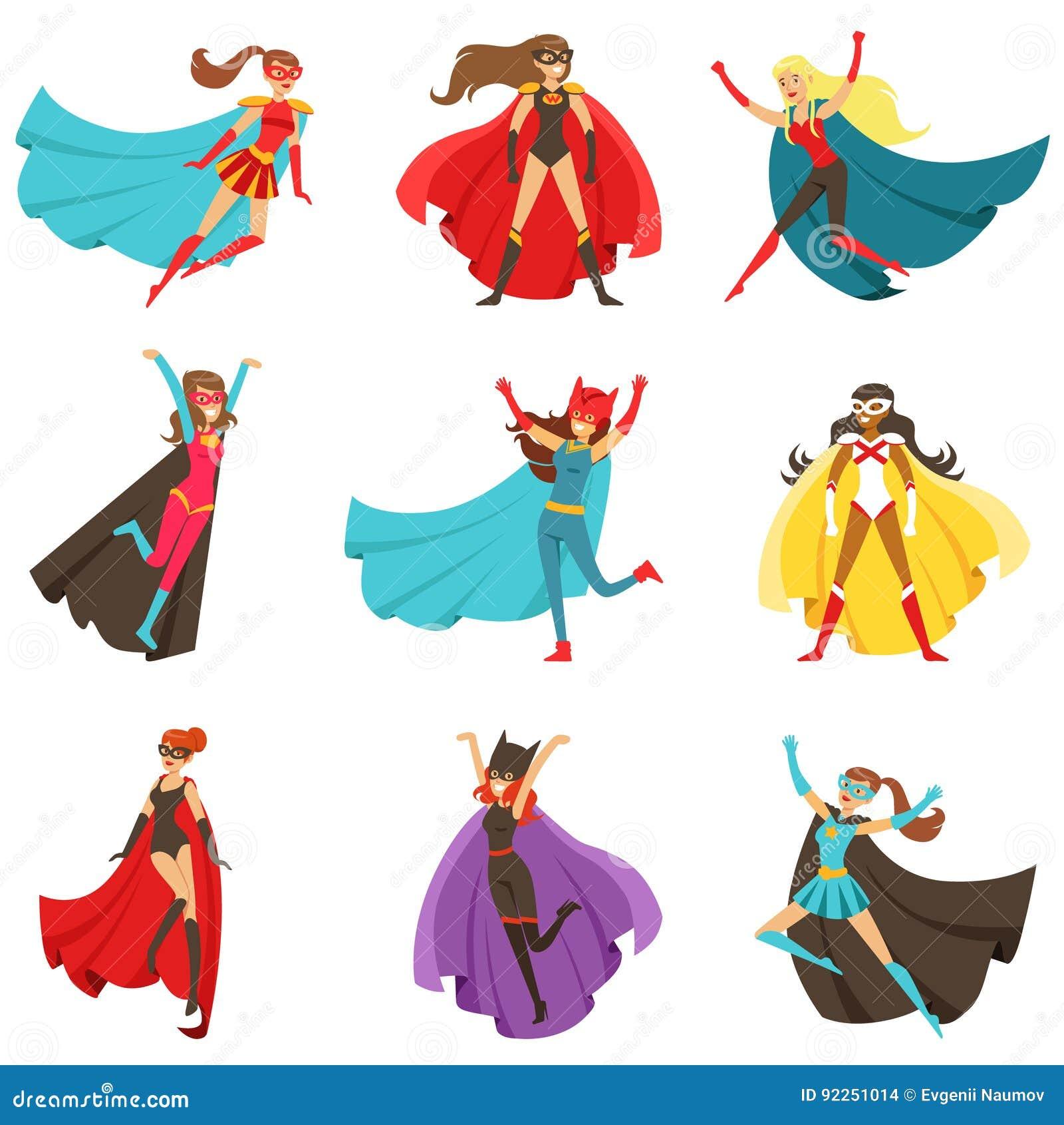 Supereroi femminili in costumi classici dei fumetti con i