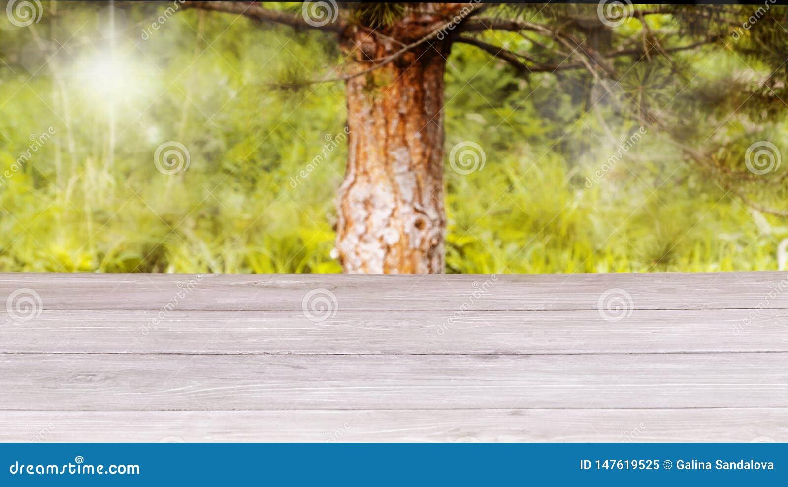 Superfície da tabela de madeira e do fundo verde-amarelo borrado Zombaria do molde acima para a exposi??o do produto