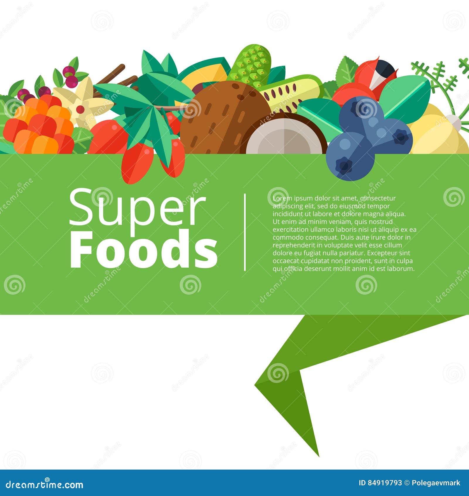 Superfood tło z owoc, warzywa, jagody, dokrętki i