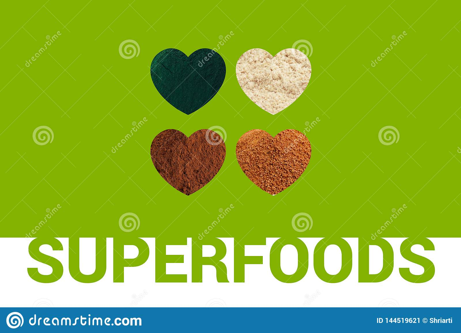Superfoods text and four Hearts with spirulina powder, cacao powder, almond flour and coconut palm sugar on green ba