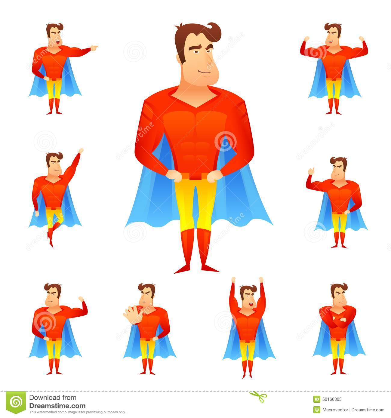 Superhero in red costume and blue cape in different poses avatar set ...