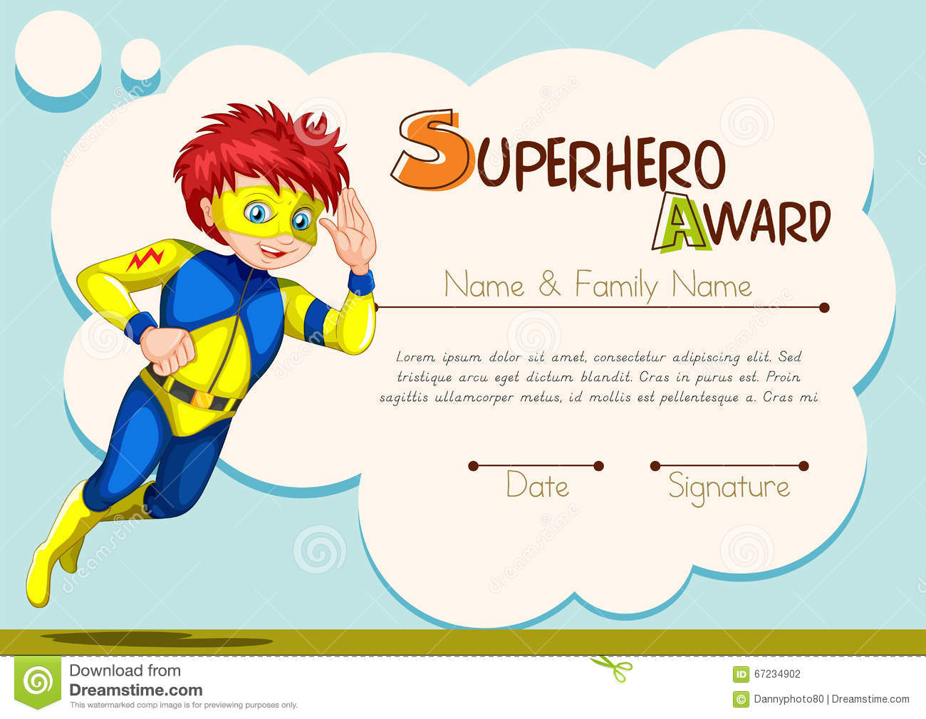 Superhero Award Template With Character In Background Stock Illustration Illustration Of Education Certificate 67234902
