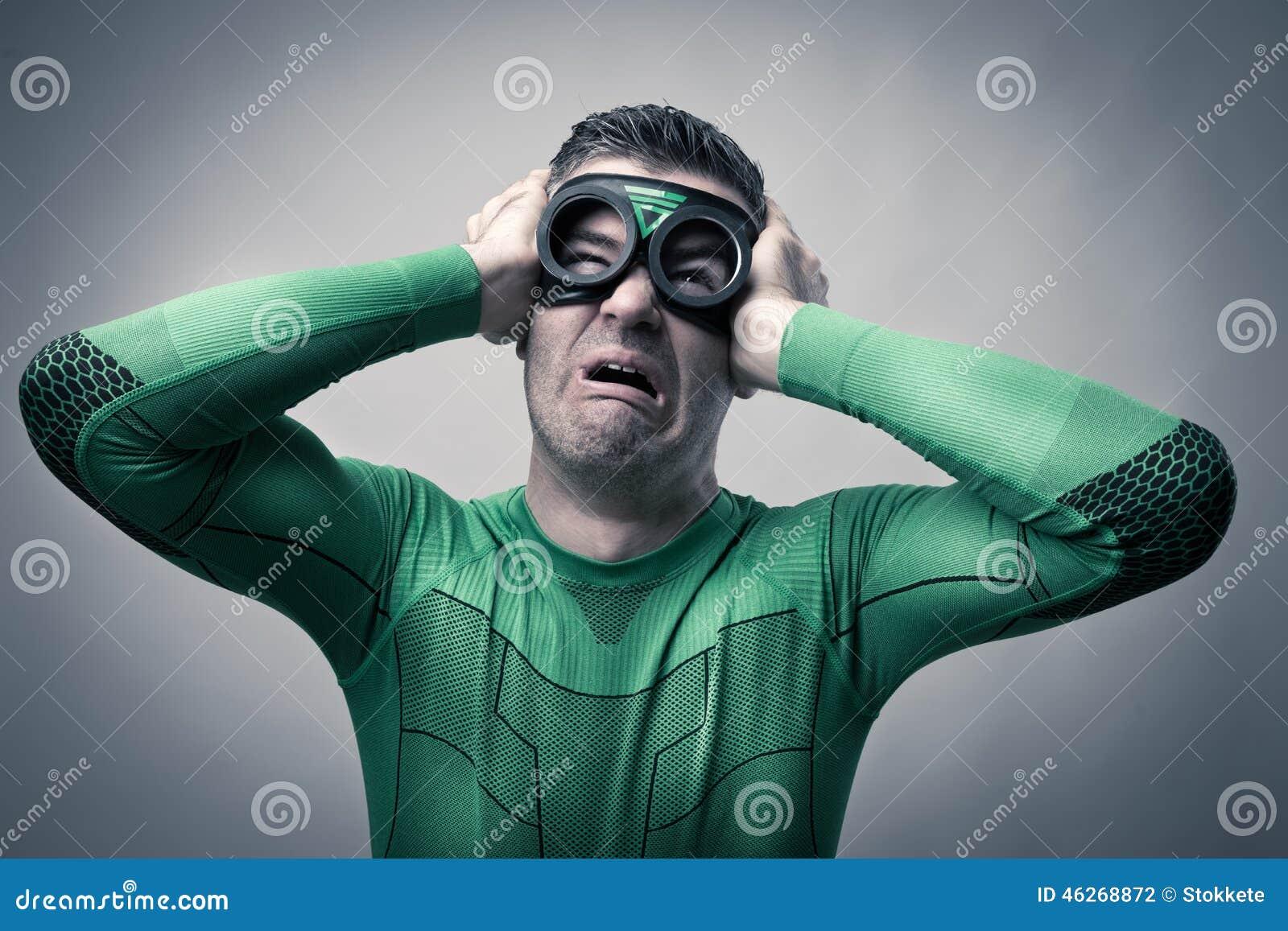 Au77 Doctor Strange Hero Illustration Art: Superhero With Bad Headache Stock Photo