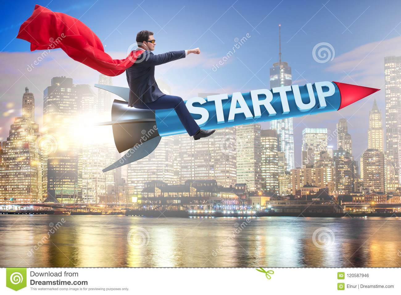 The superhero businessman in start-up concept flying rocket