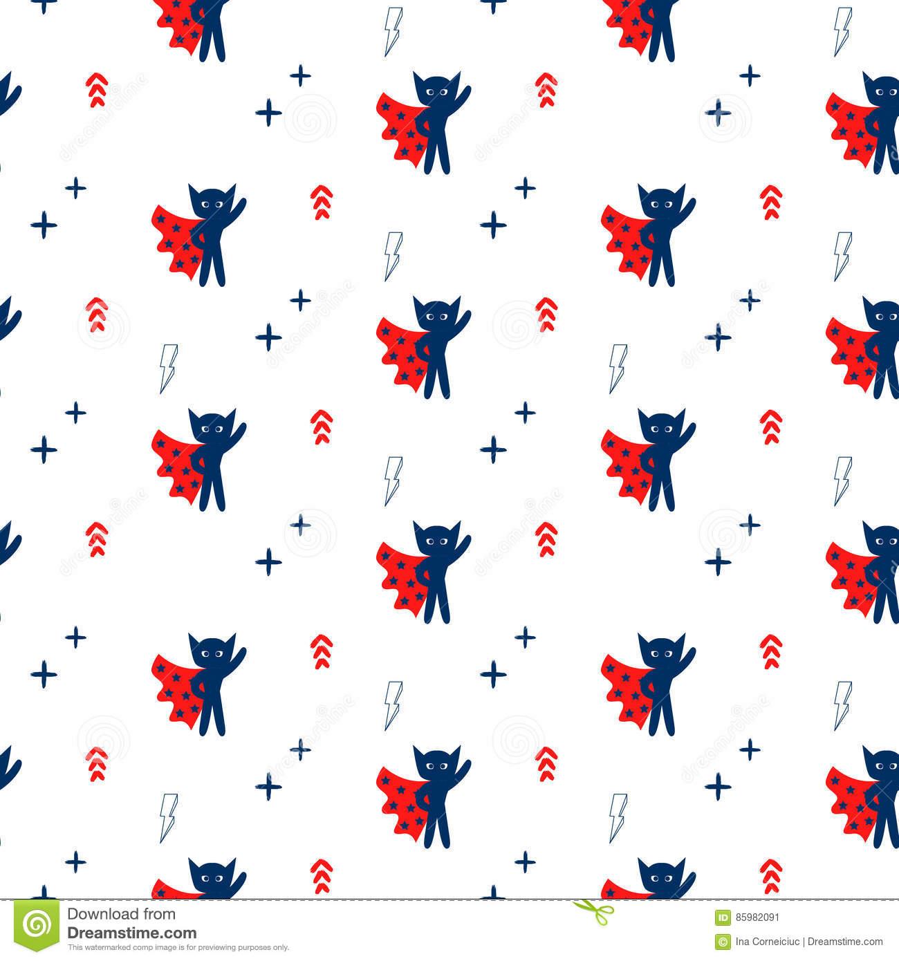 Superhero In Cape With Stars Seamless Kid Pattern  Stock
