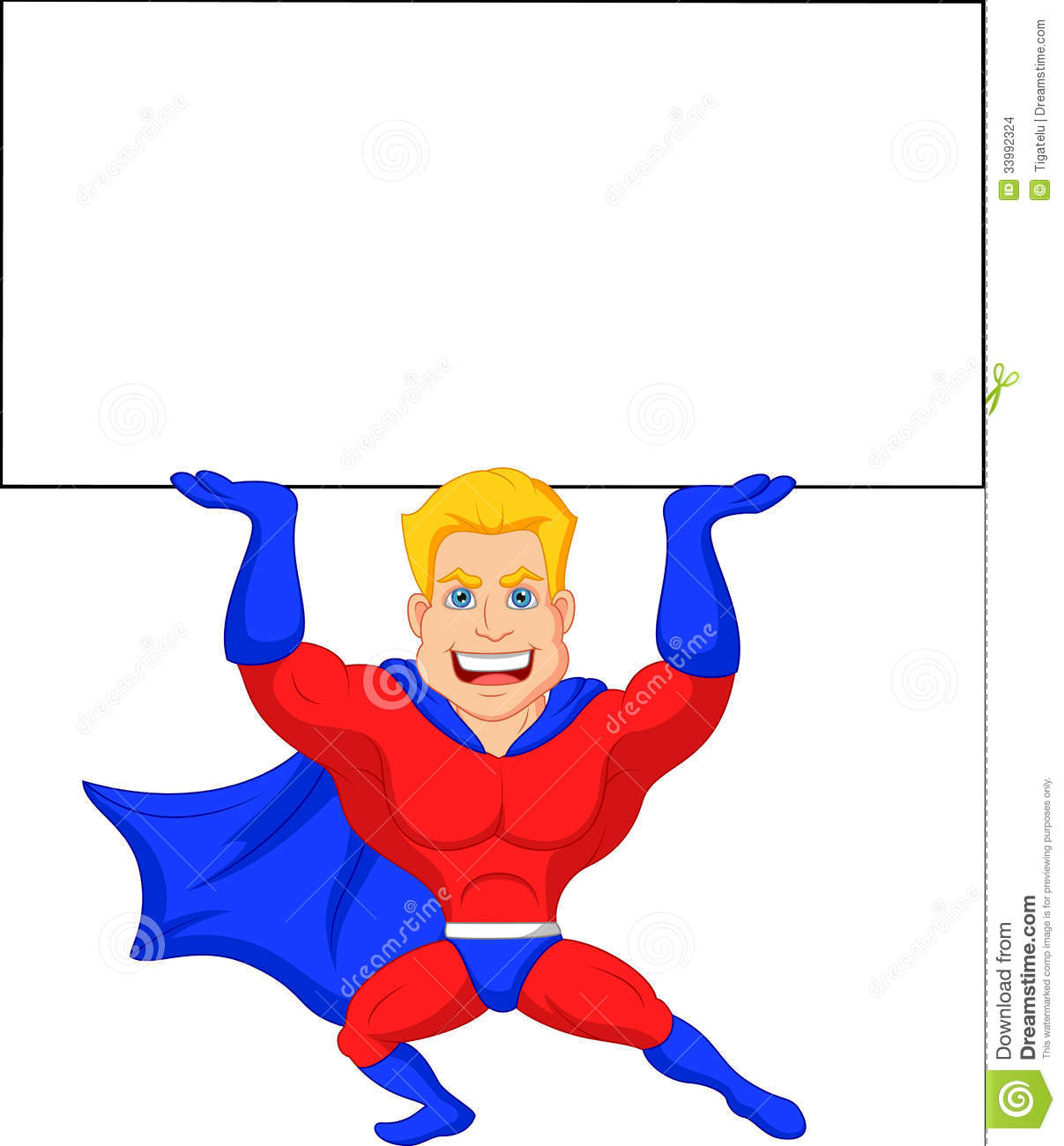Superhero Cartoon With Blank Sign Stock Images  Image: 33992324