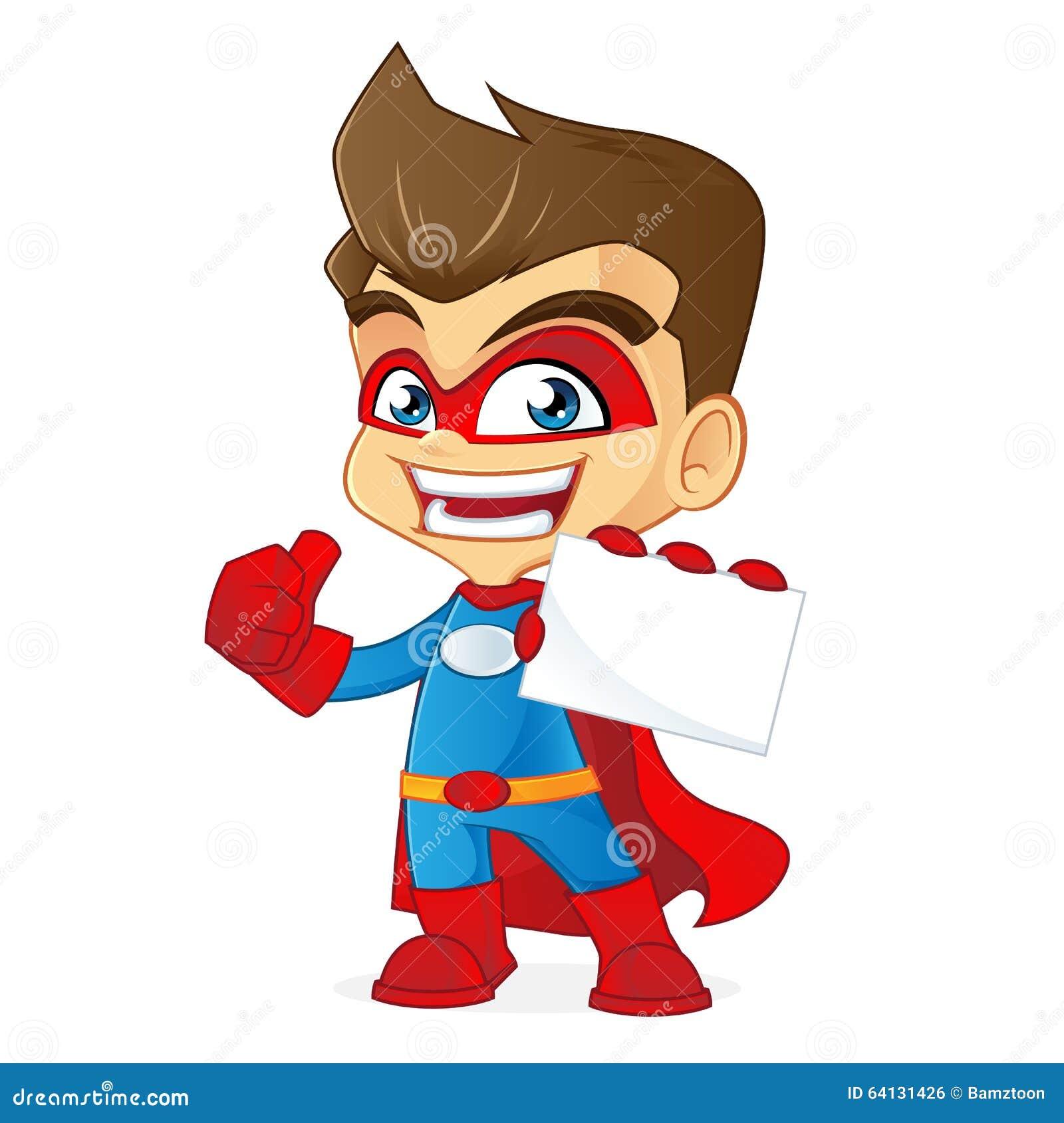 Superhero Holding Business Card Stock Vector - Illustration of ...