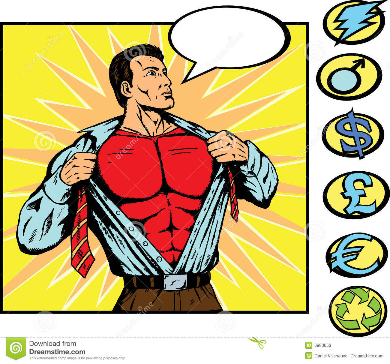Superhero changing into his costume, You can use any of the symbols on ...