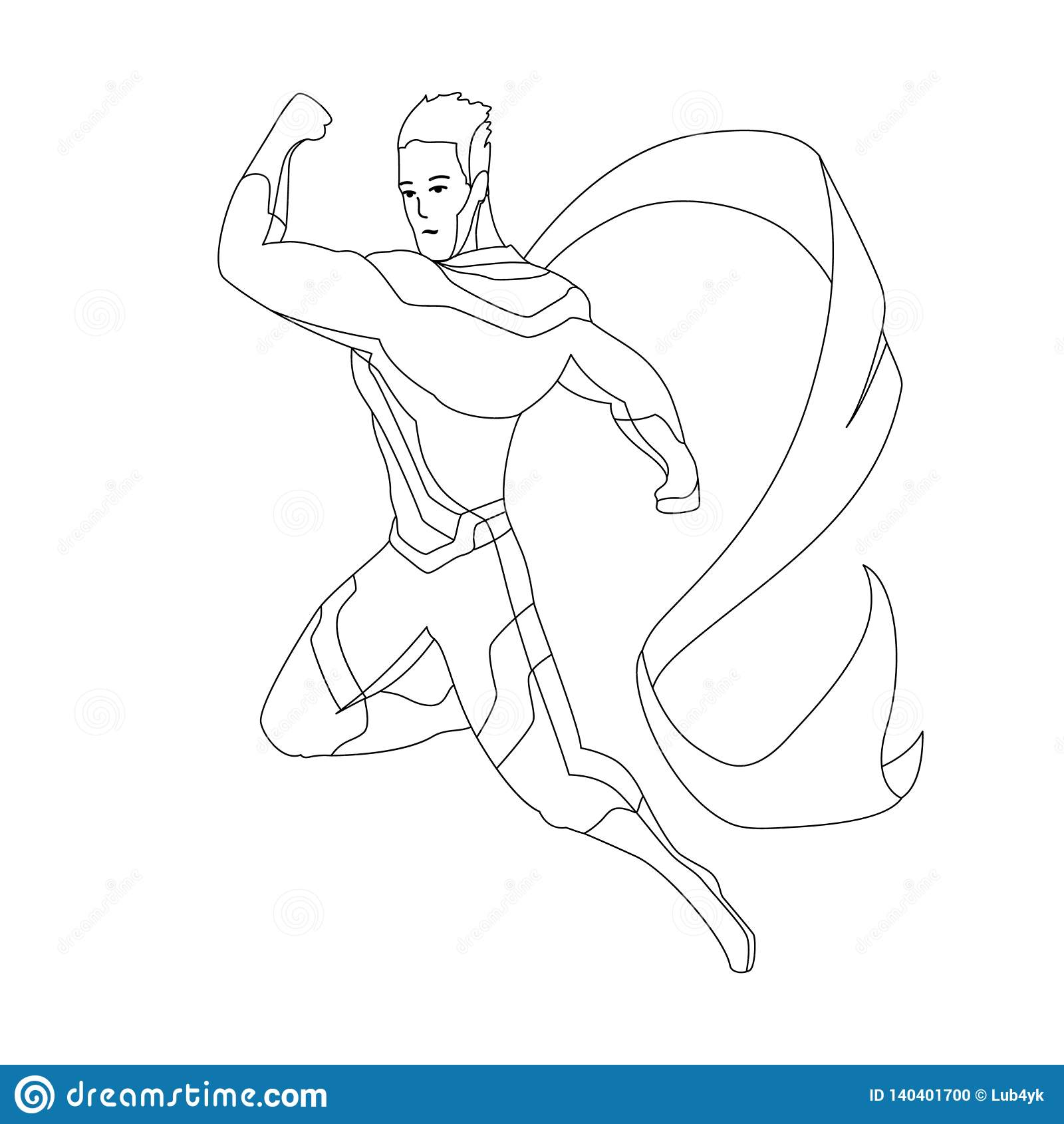 Superhero For Coloring Book Isolated. Comic Book Vector Illustration ...