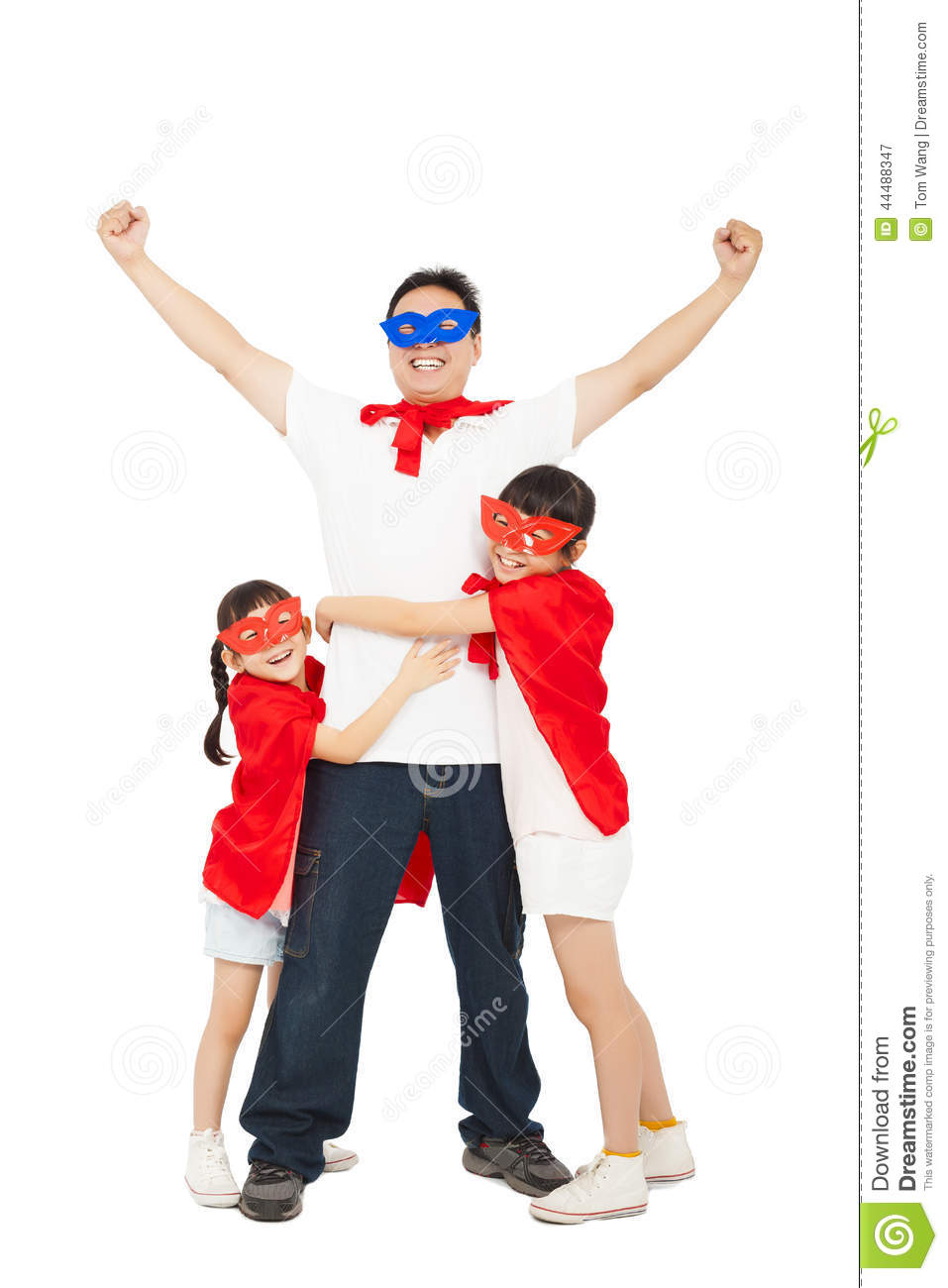 Superhero daughters hug father waist. isolated on white