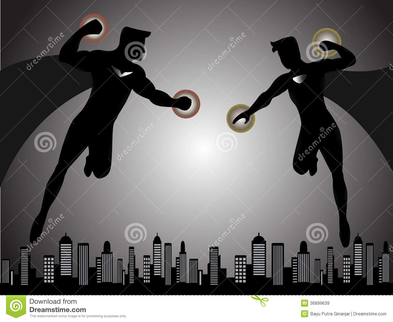 Superhero Fight Silhouette Royalty Free Stock Images