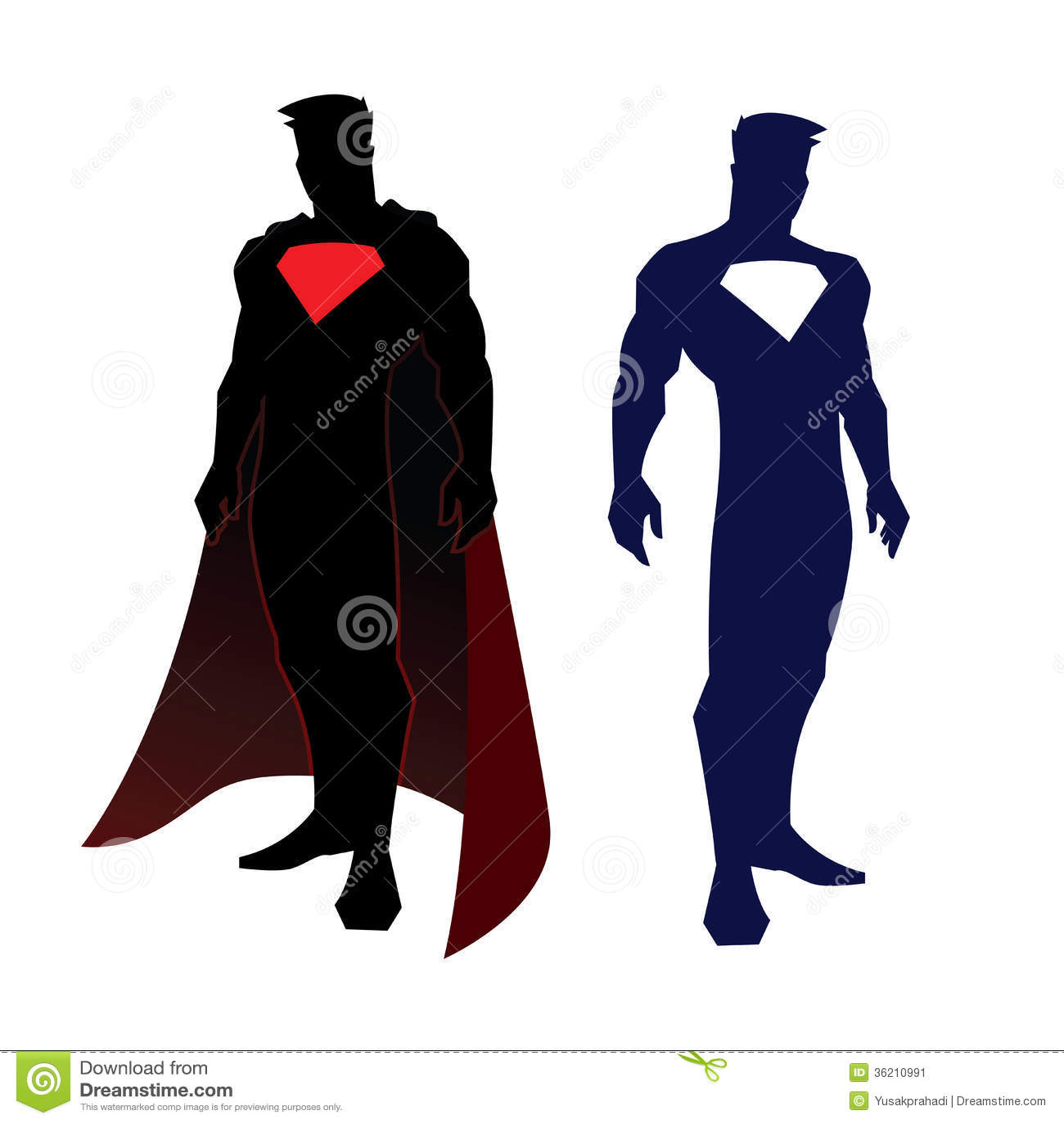 Superhero Silhouette Superhero figure stock image