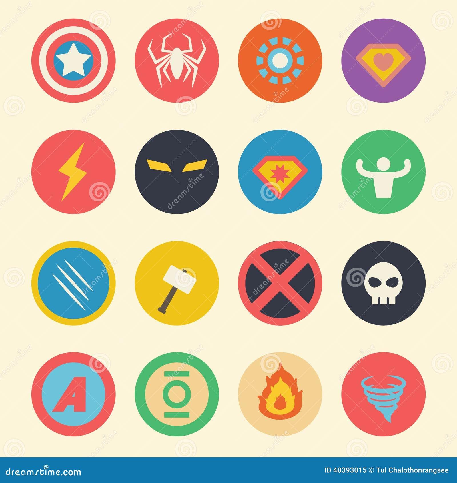 Superhero Flat Icons Stock Vector Illustration Of Flat 40393015