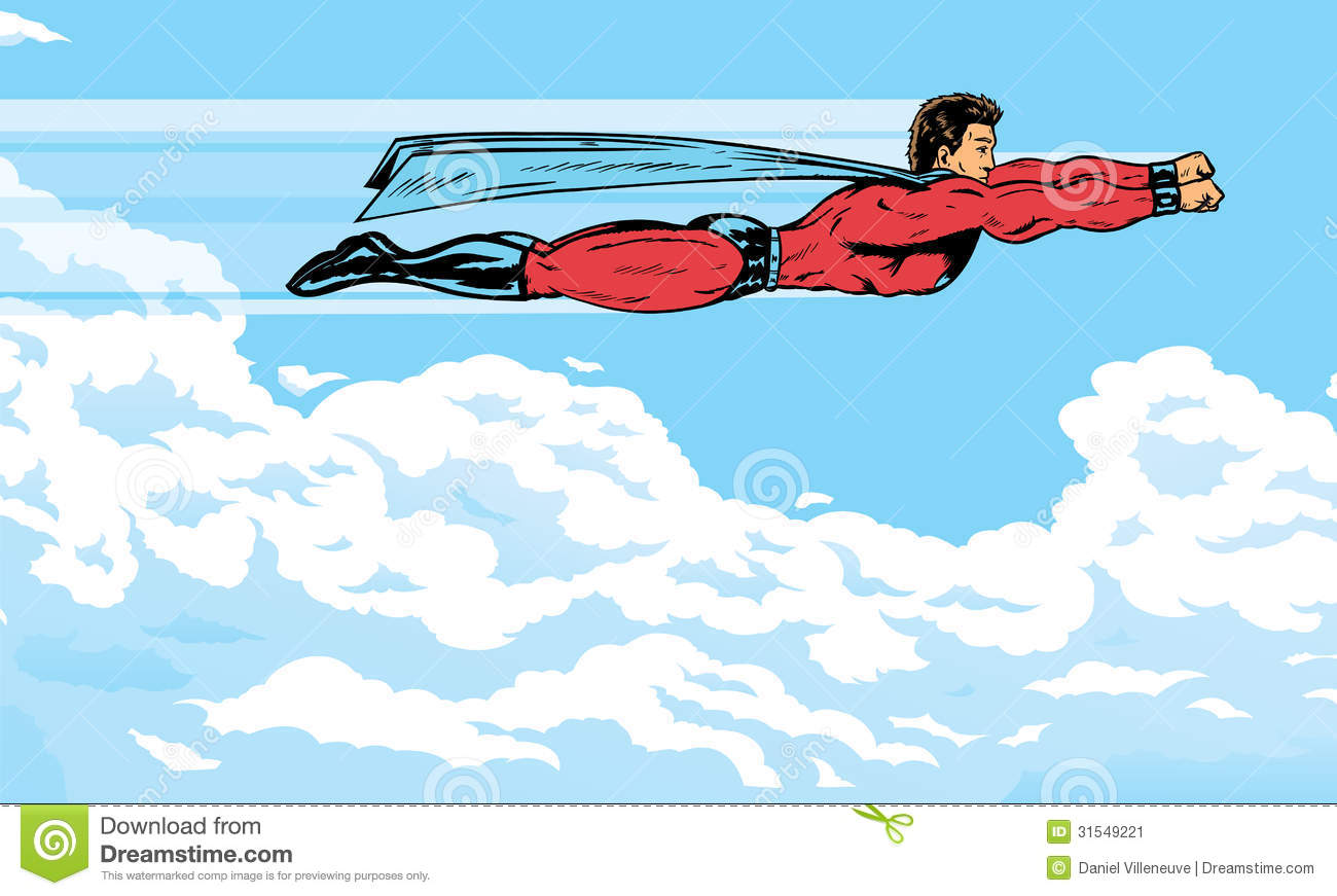 Superhero flying in the clouds, can be used for anything. Part of a ... Superhero Flying Vector
