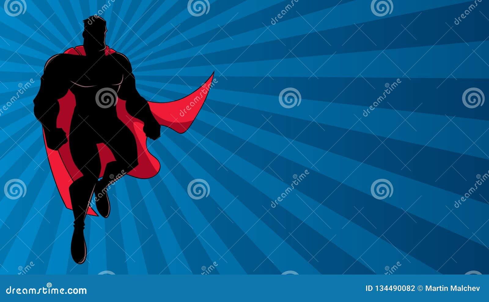 Superhero Flying Ray Light Silhouette Stock Vector
