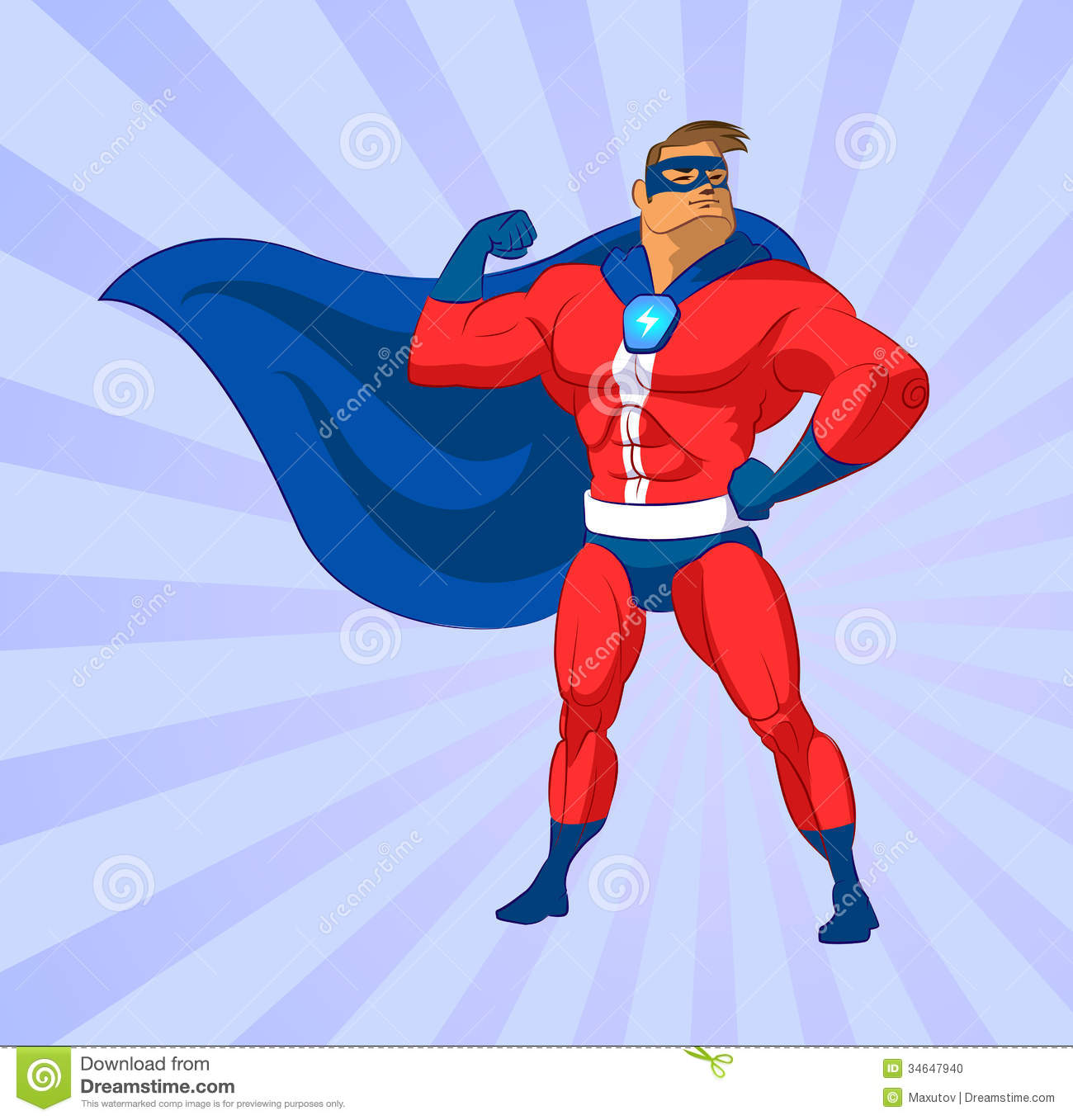 Superhero or superman flying. Vector illustration on background.