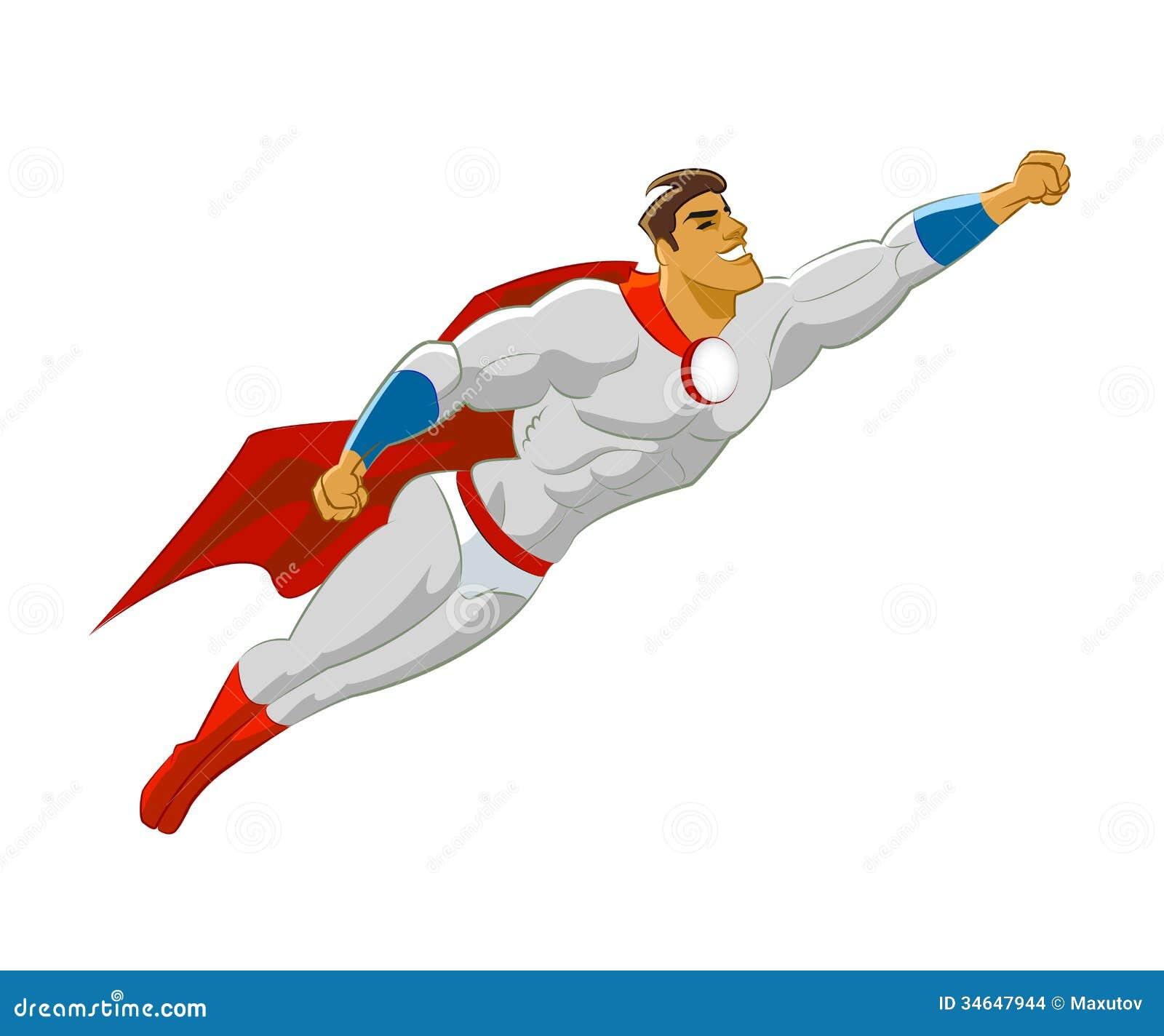 Superhero or superman flying. Vector illustration on isolated ... Superhero Flying Vector