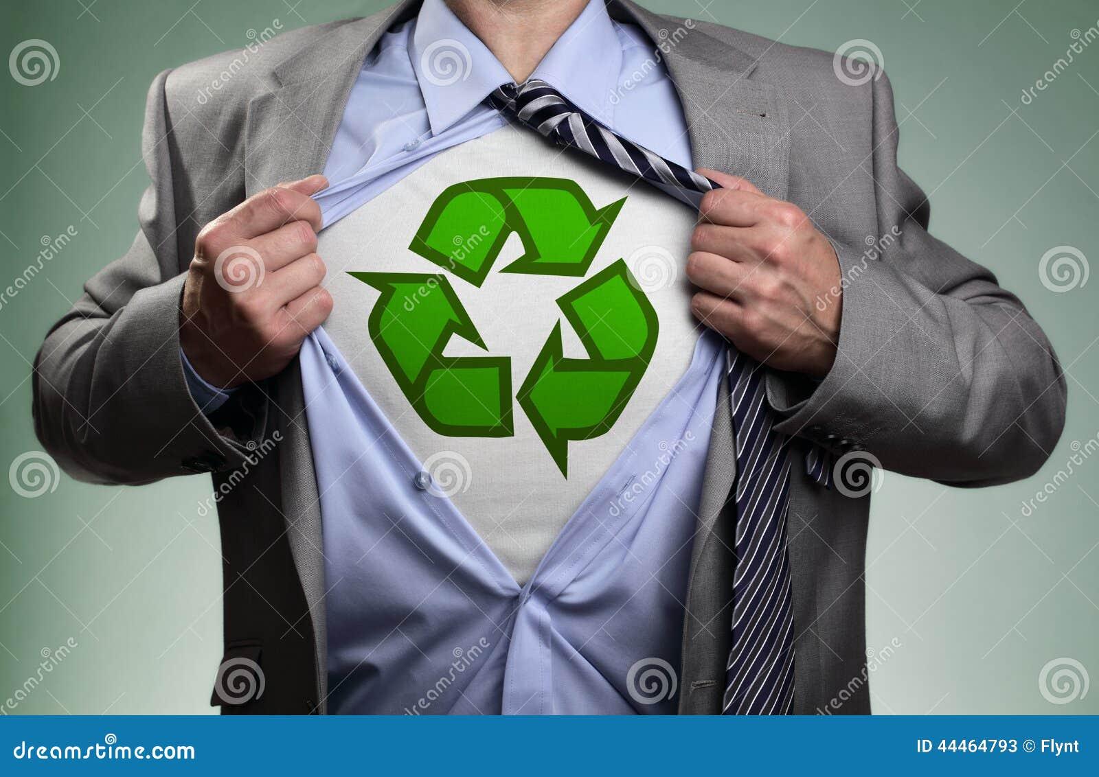superhero green eco businessman stock photo