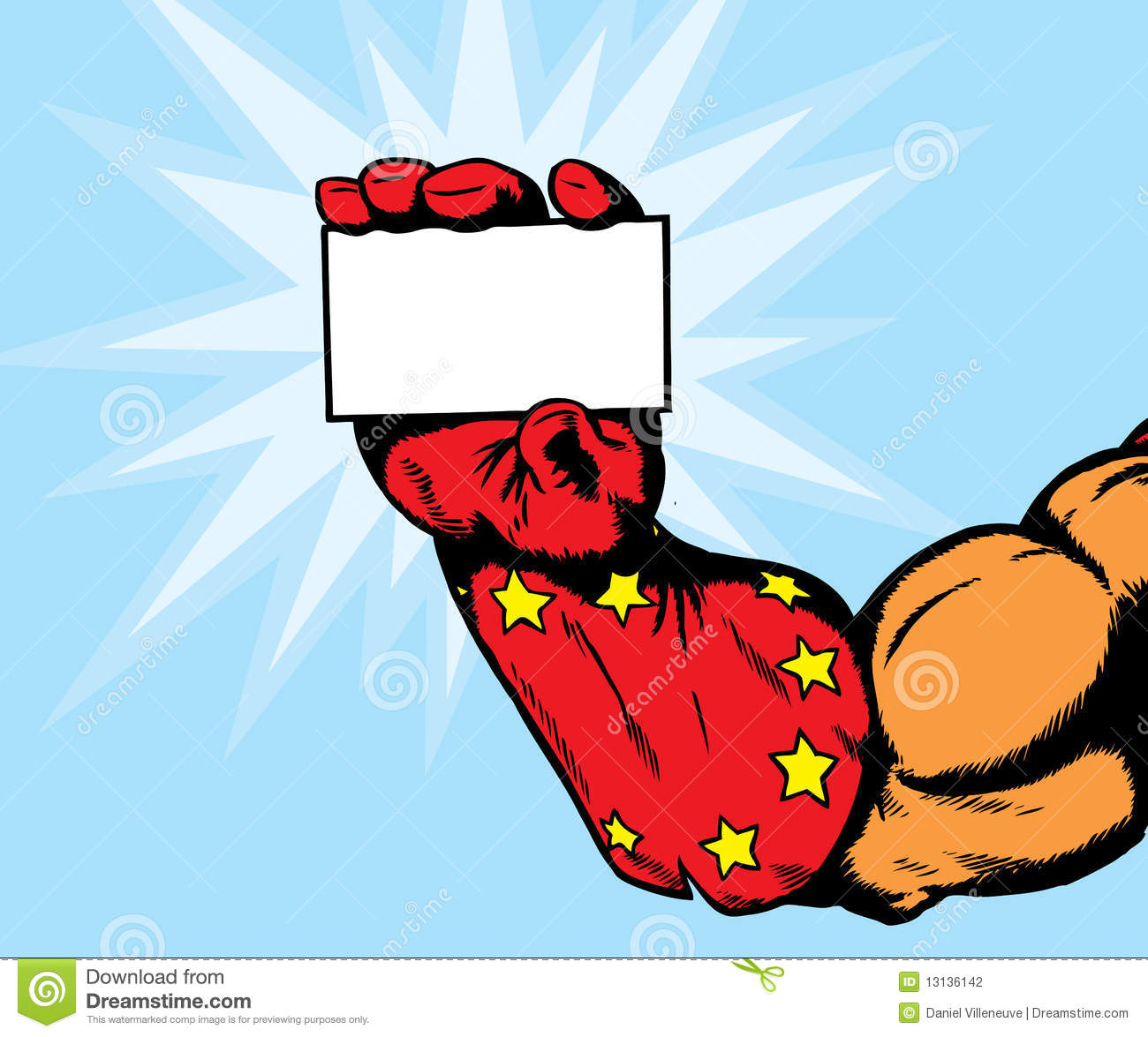 Superhero Hand Holding Flyer. Royalty Free Stock Images - Image ...