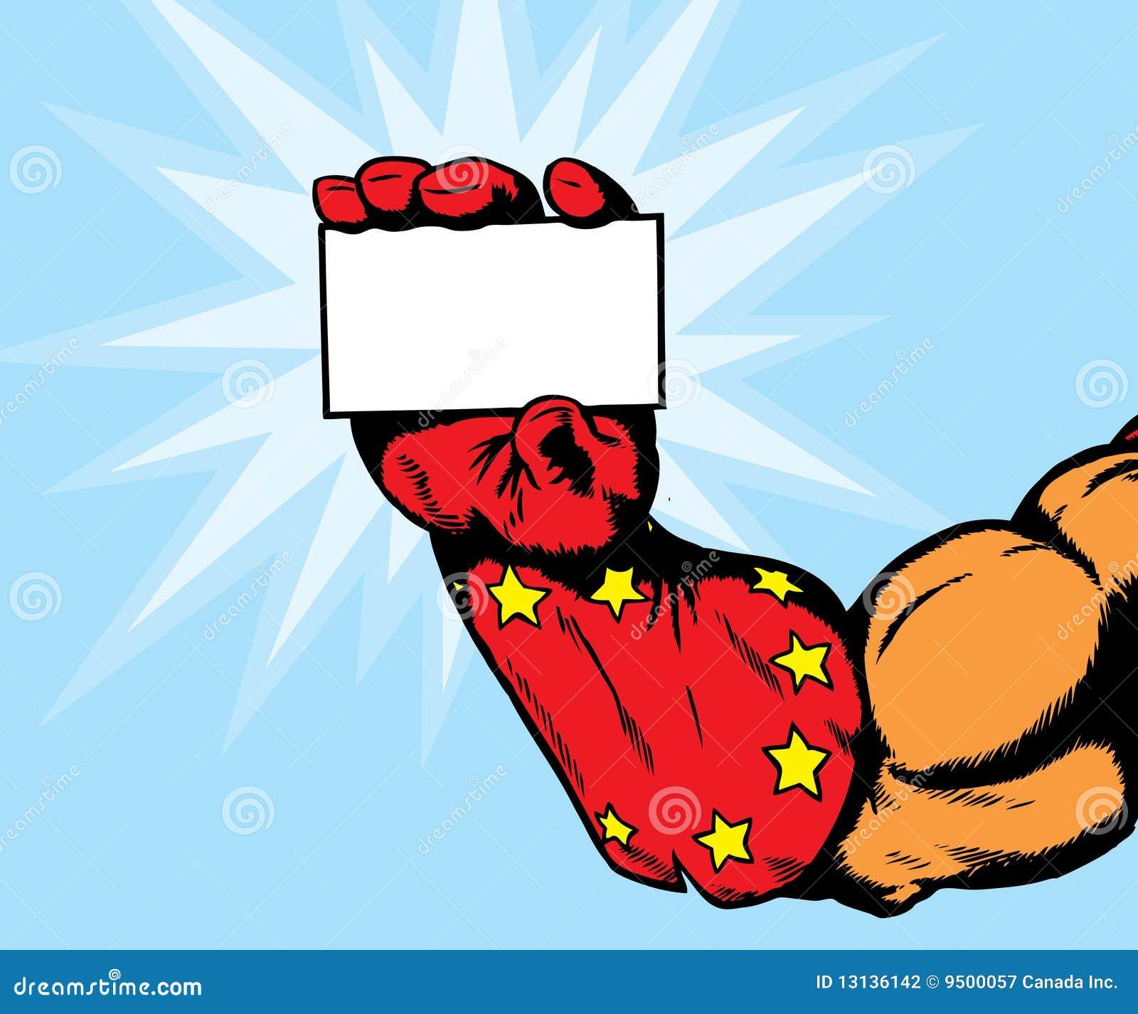 Superhero Hand Holding Card Stock Photography Image