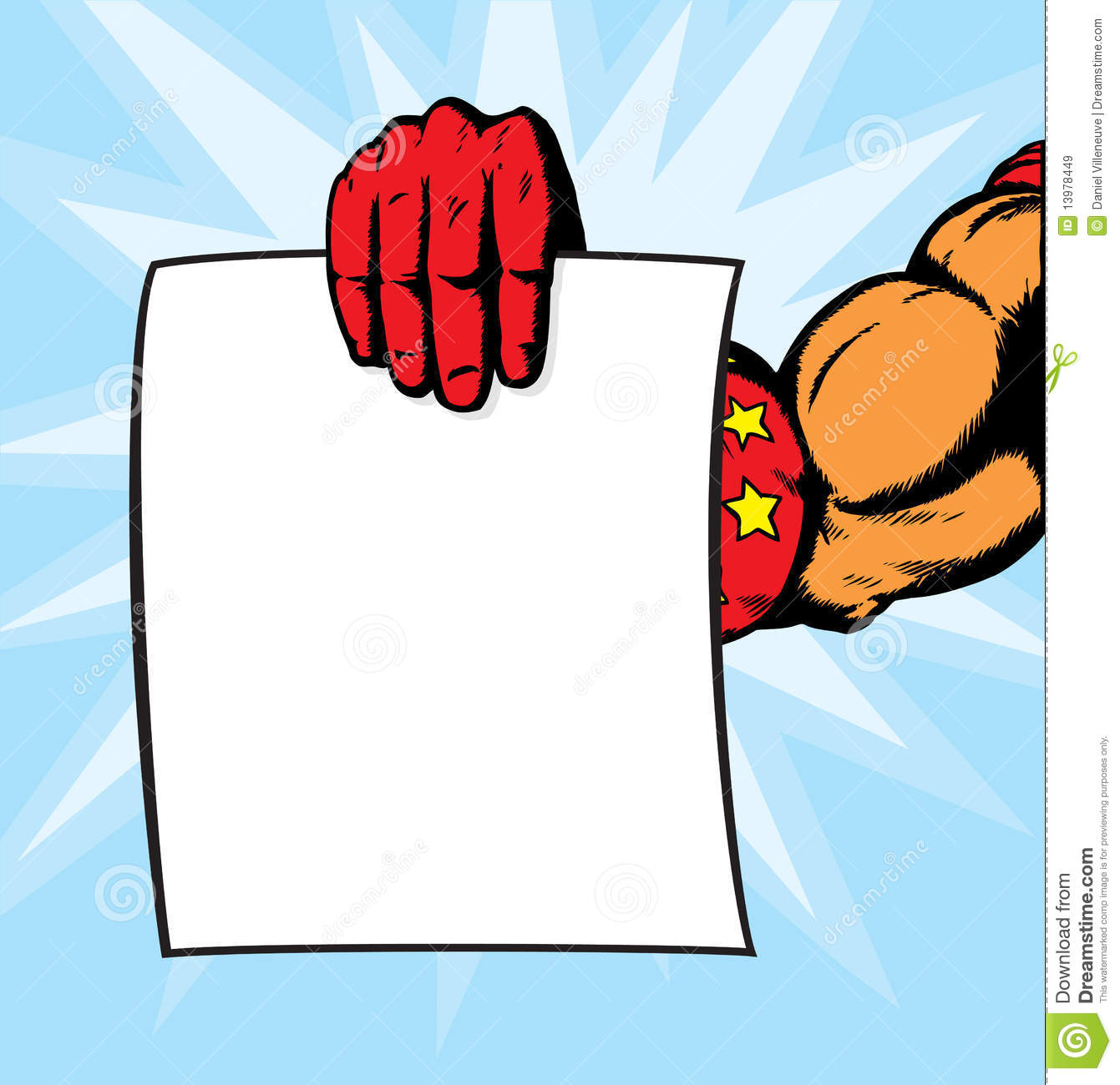 Superhero holding flyer. Anything can be put on it. With , hand and ...
