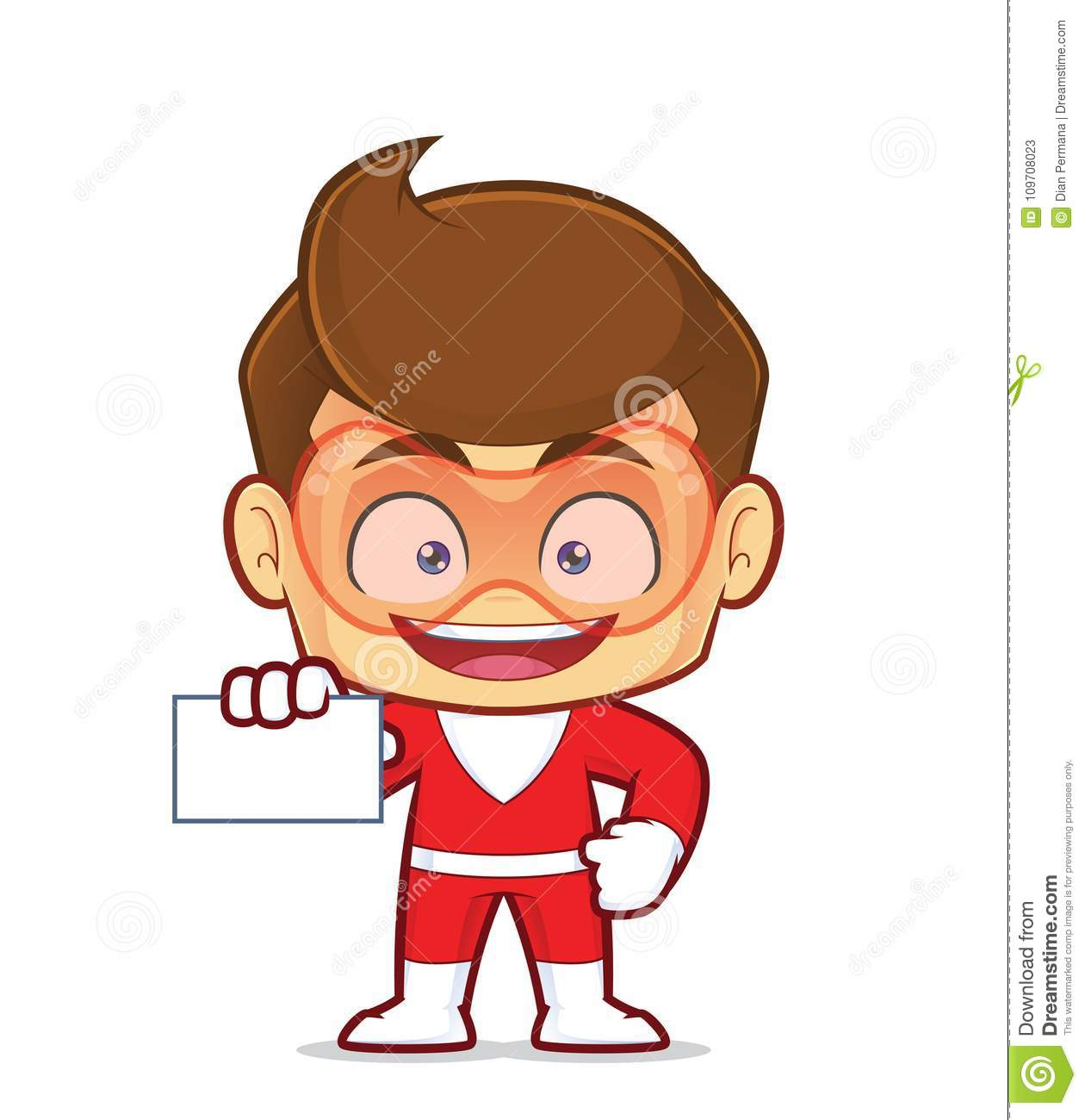 Superhero holding a blank business card stock vector illustration clipart picture of a superhero cartoon character holding a blank business card colourmoves
