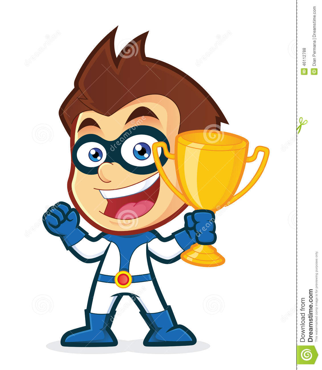 Superhero Holding A Trophy Cup Stock Vector - Image: 46112788