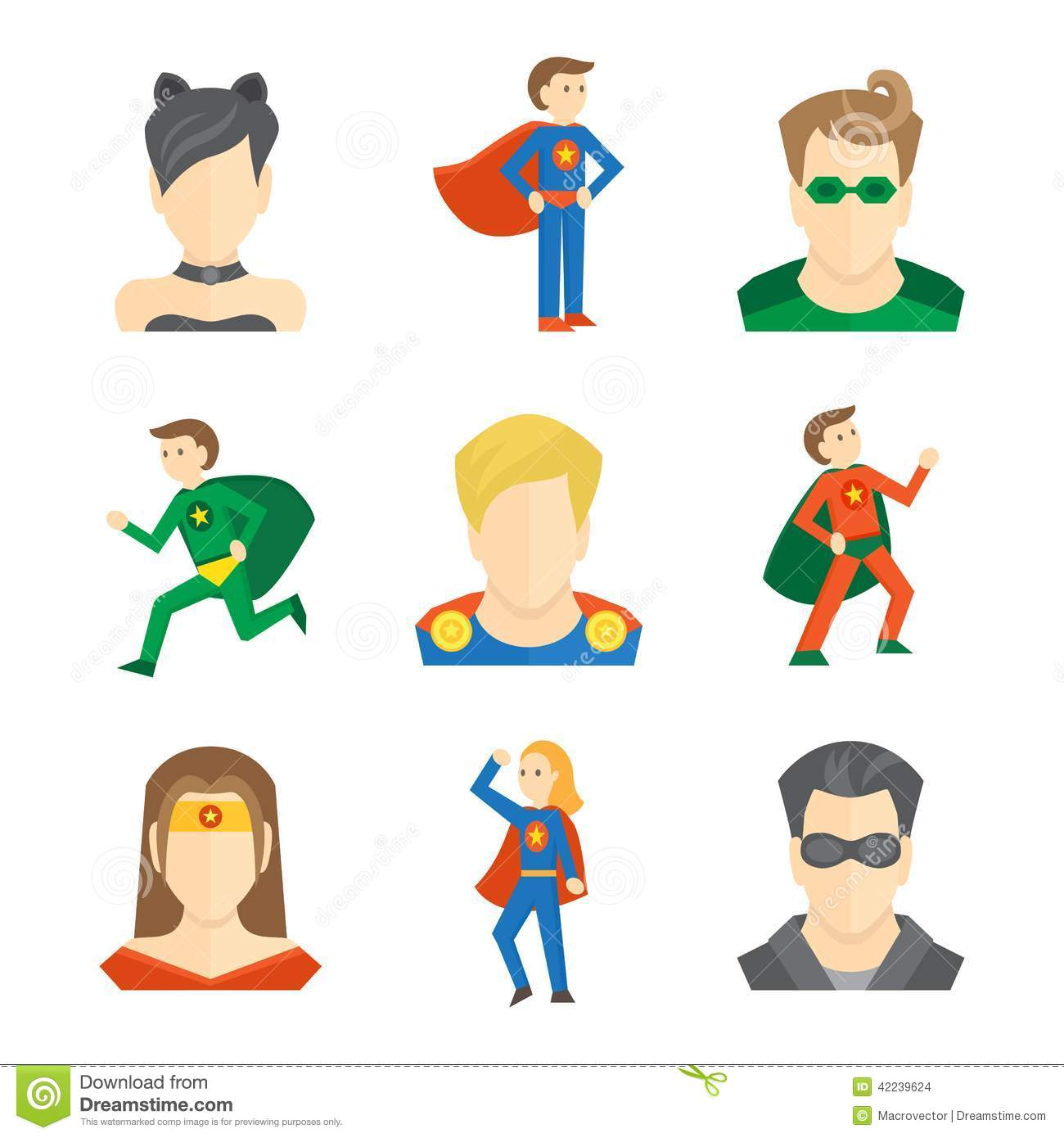 Superhero male and female avatars in masks and disguise flat set ...