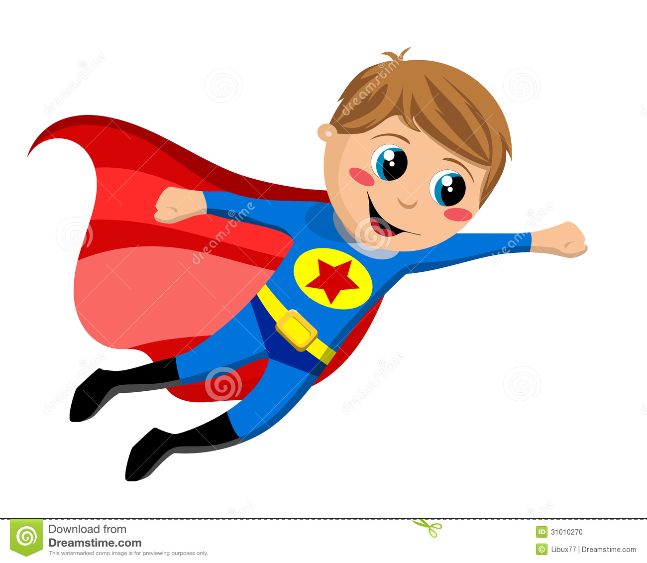 Superhero kid flying isolated on white background. Eps file is