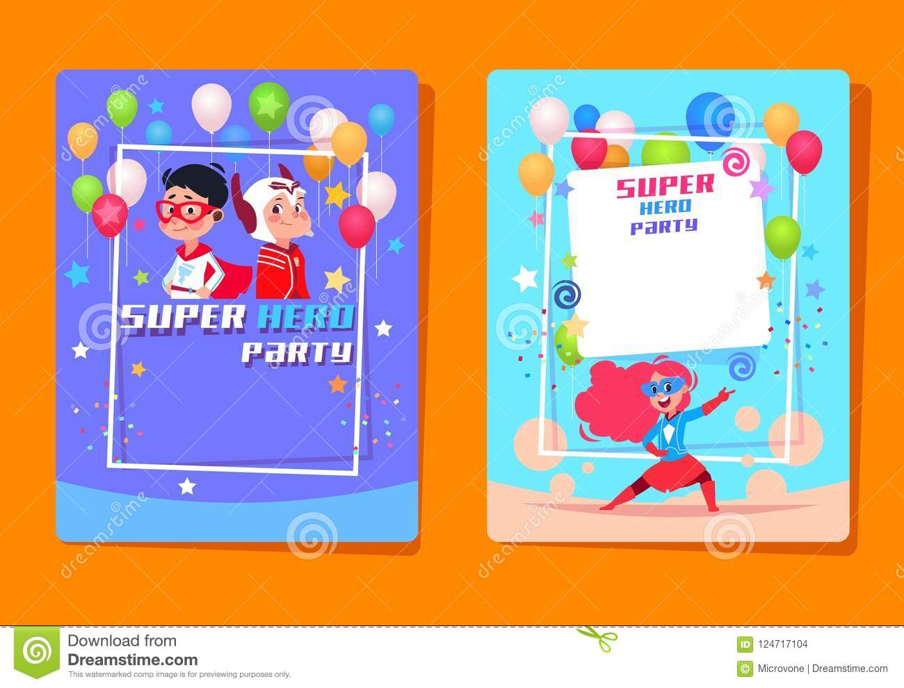 Superhero Kids Party Preschool Children In Superheroes Costumes Birthday Invitation Vector Background