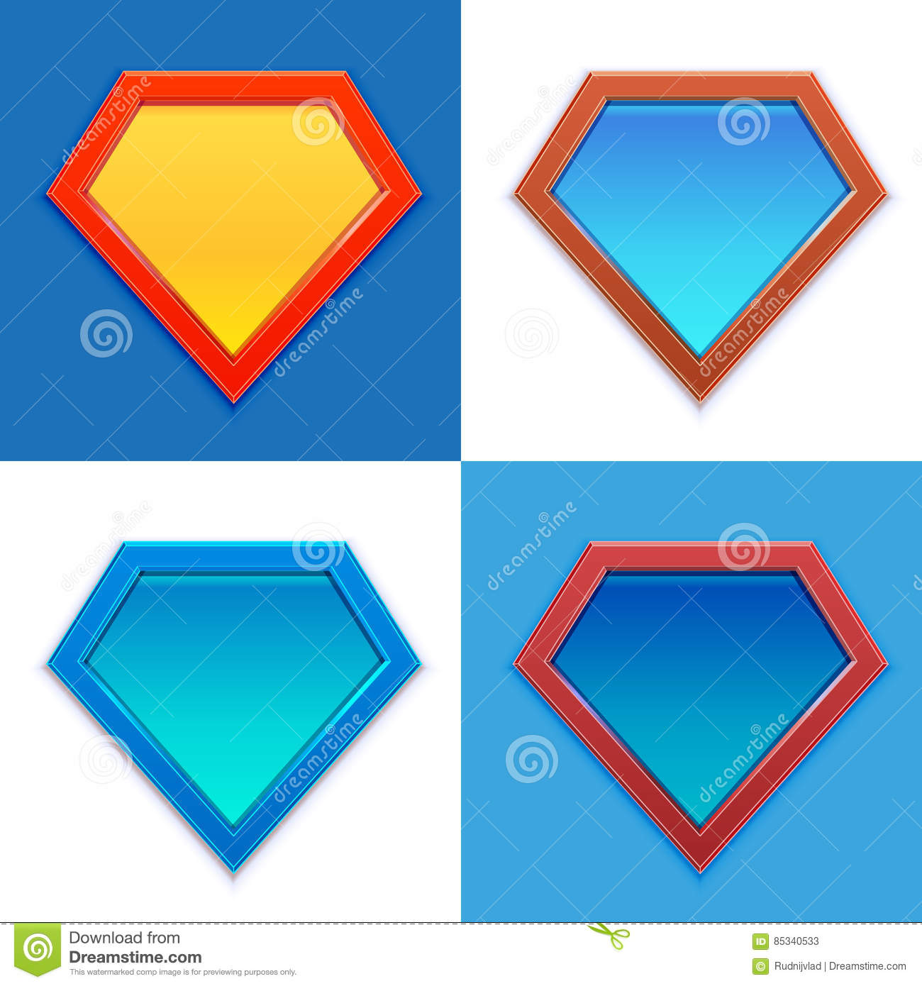 Superhero Logo Template Blank Super Hero Badge Set Illustration