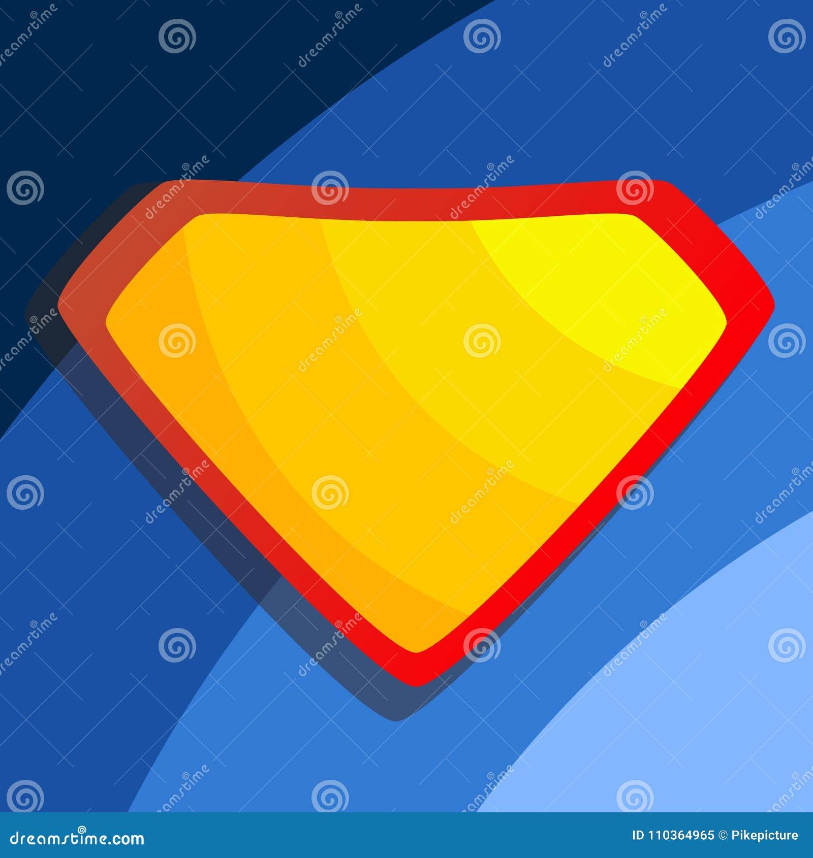 Superhero Logo Vector. Yellow, Red Shield. Emblem Template. Flat ...