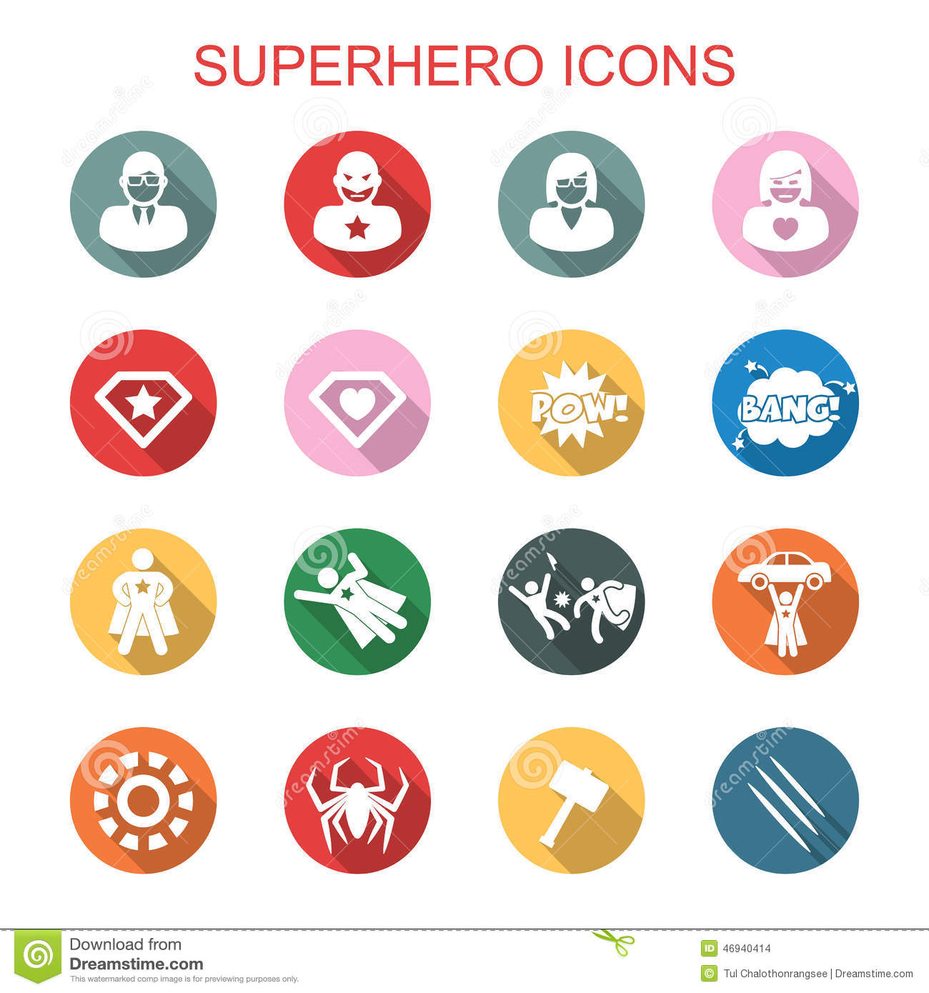 Superhero Long Shadow Icons Stock Vector Illustration Of