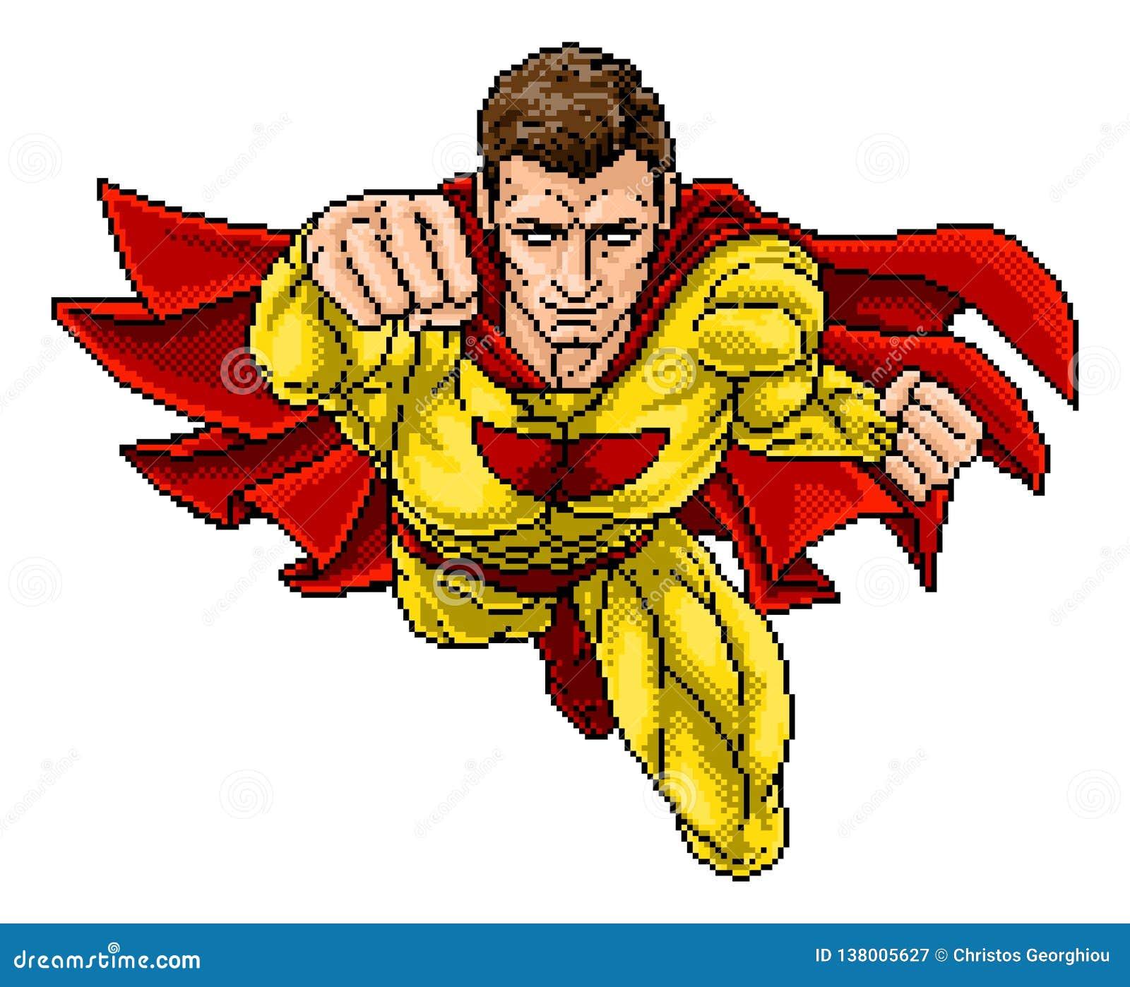 Superhero Pixel Art Arcade Game Cartoon Character Stock Vector Illustration Of Book Clip 138005627