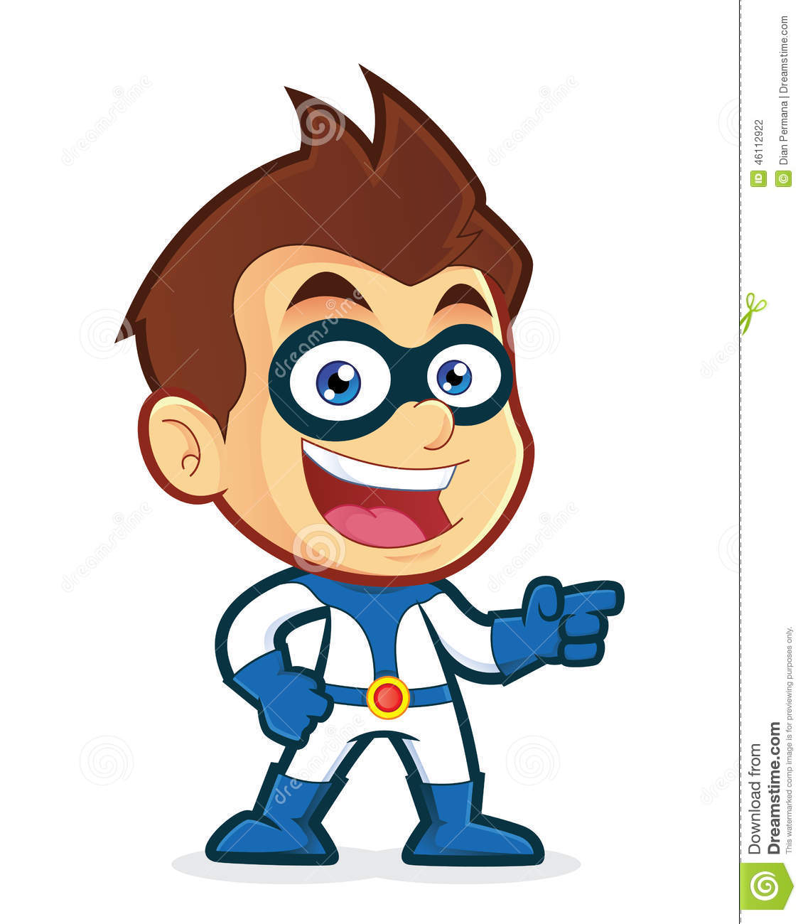 Cartoon Characters 3 Fingers : Superhero pointing his finger stock vector image