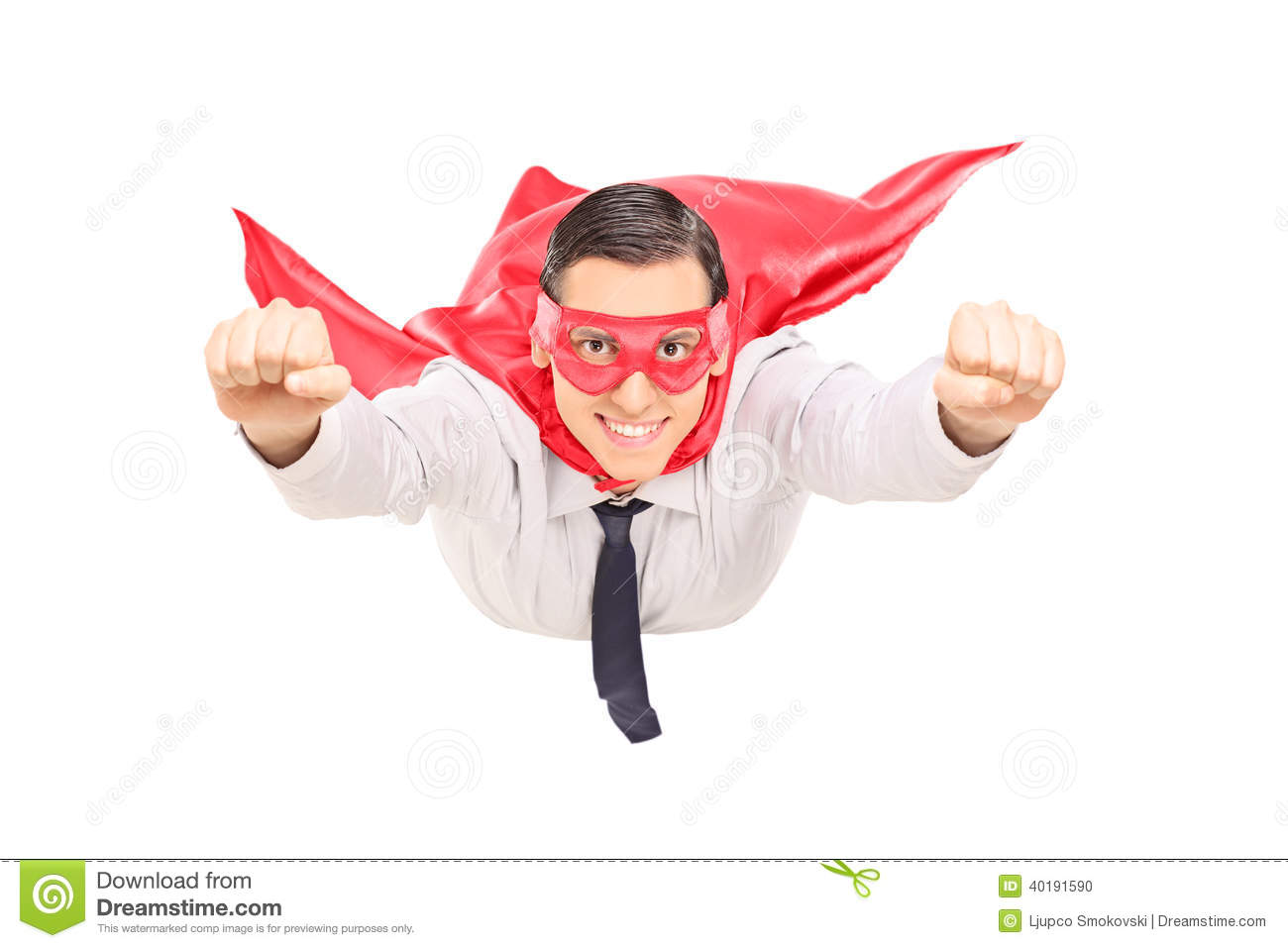 Superhero With Red Cape Flying Stock Photo - Image: 40191590