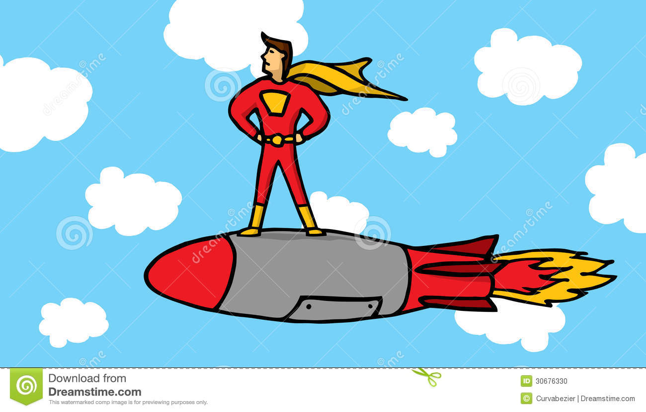 Cartoon illustration of a superhero standing on a missile.
